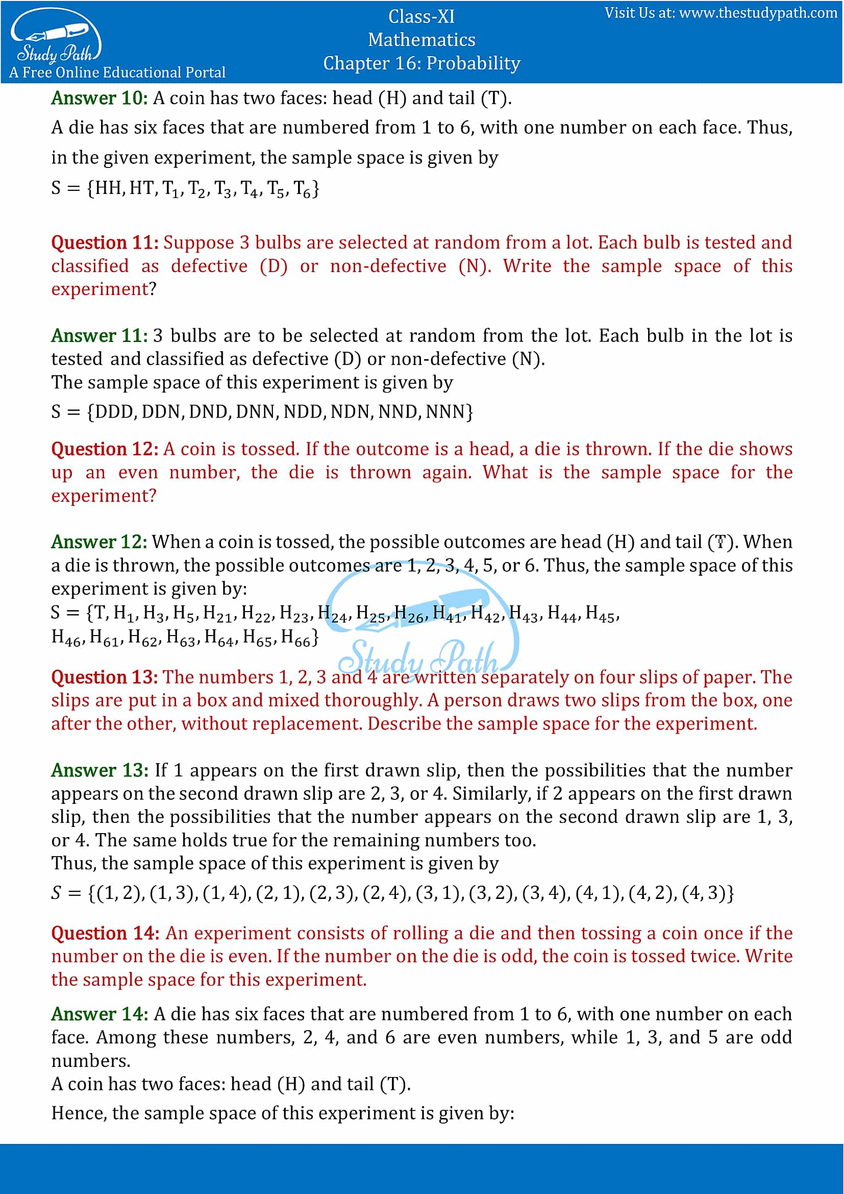 NCERT Solutions for Class 11 Maths chapter 16 Probability part-3