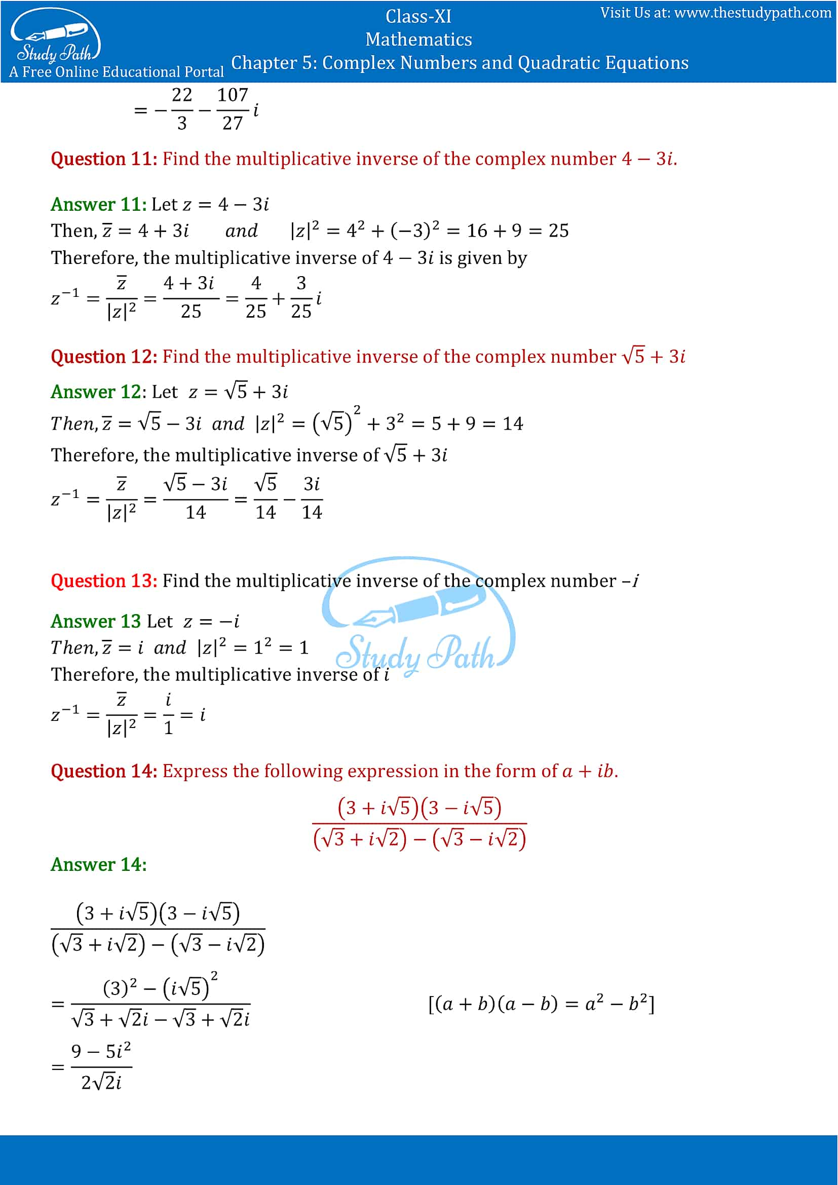NCERT Solutions for Class 11 Maths chapter 5 Complex Numbers and Quadratic Equations Exercise 5.1 part-4