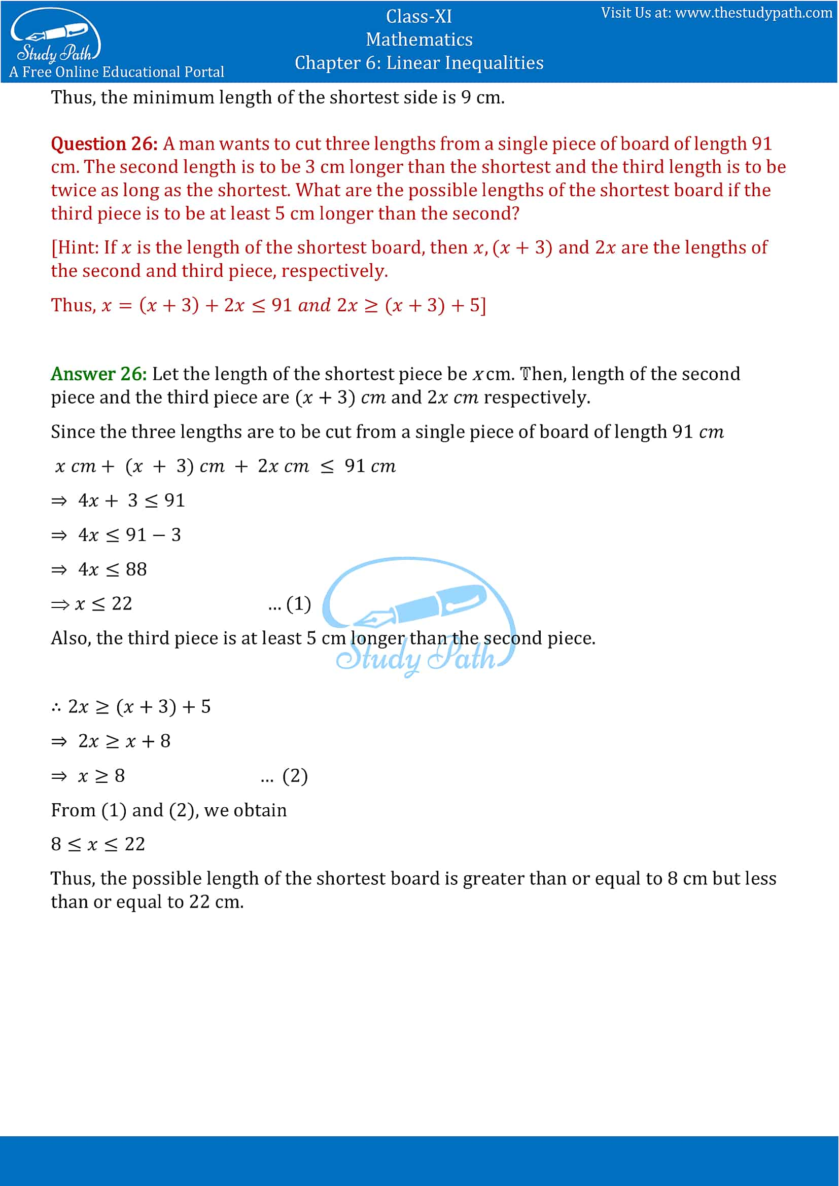 NCERT Solutions for Class 11 Maths chapter 6 Linear Inequalities Exercise 6.1 Part-13