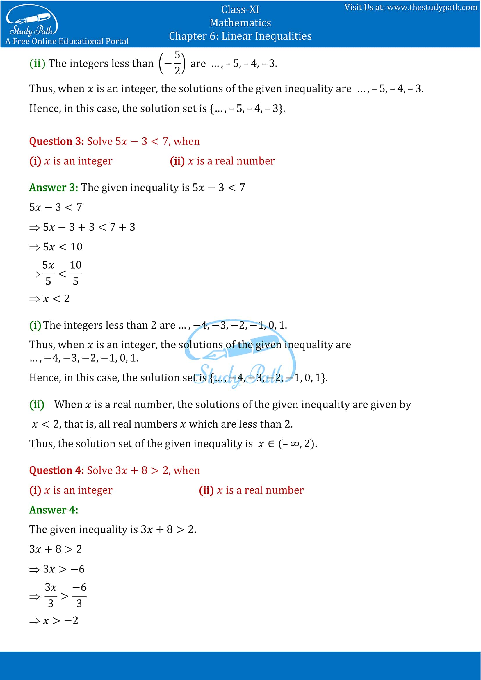 NCERT Solutions for Class 11 Maths chapter 6 Linear Inequalities Exercise 6.1 Part-2