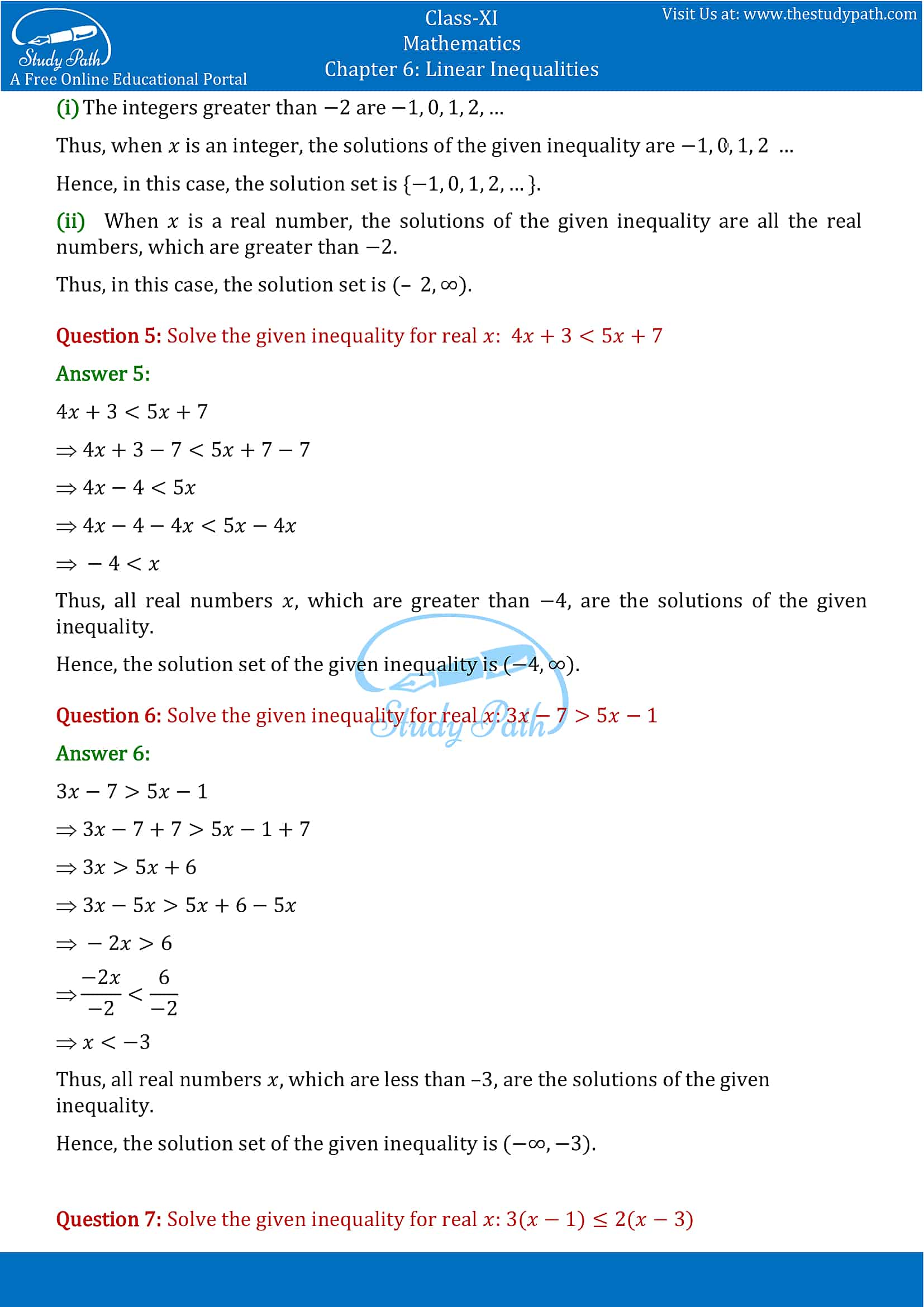 NCERT Solutions for Class 11 Maths chapter 6 Linear Inequalities Exercise 6.1 Part-3