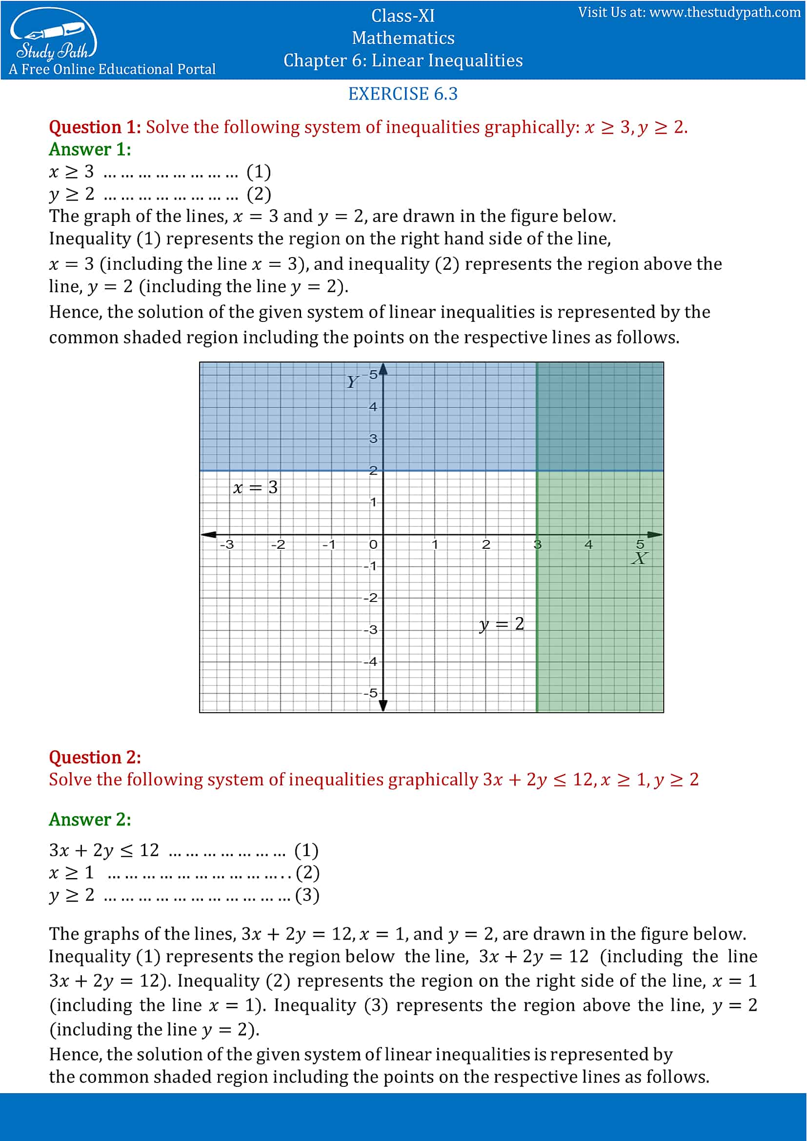 NCERT Solutions for Class 11 Maths chapter 6 Linear Inequalities Exercise 6.3 Part-1