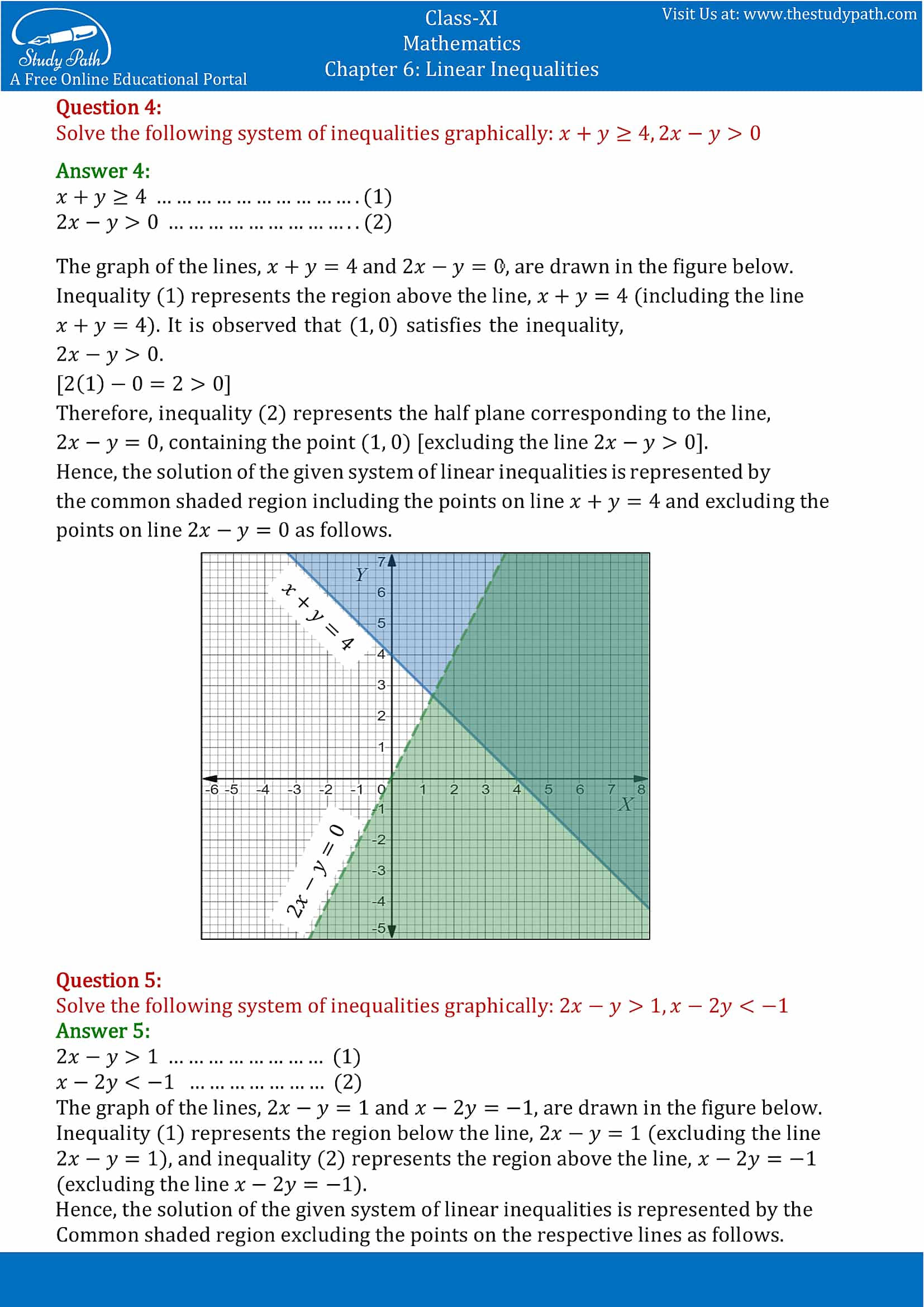 NCERT Solutions for Class 11 Maths chapter 6 Linear Inequalities Exercise 6.3 Part-3