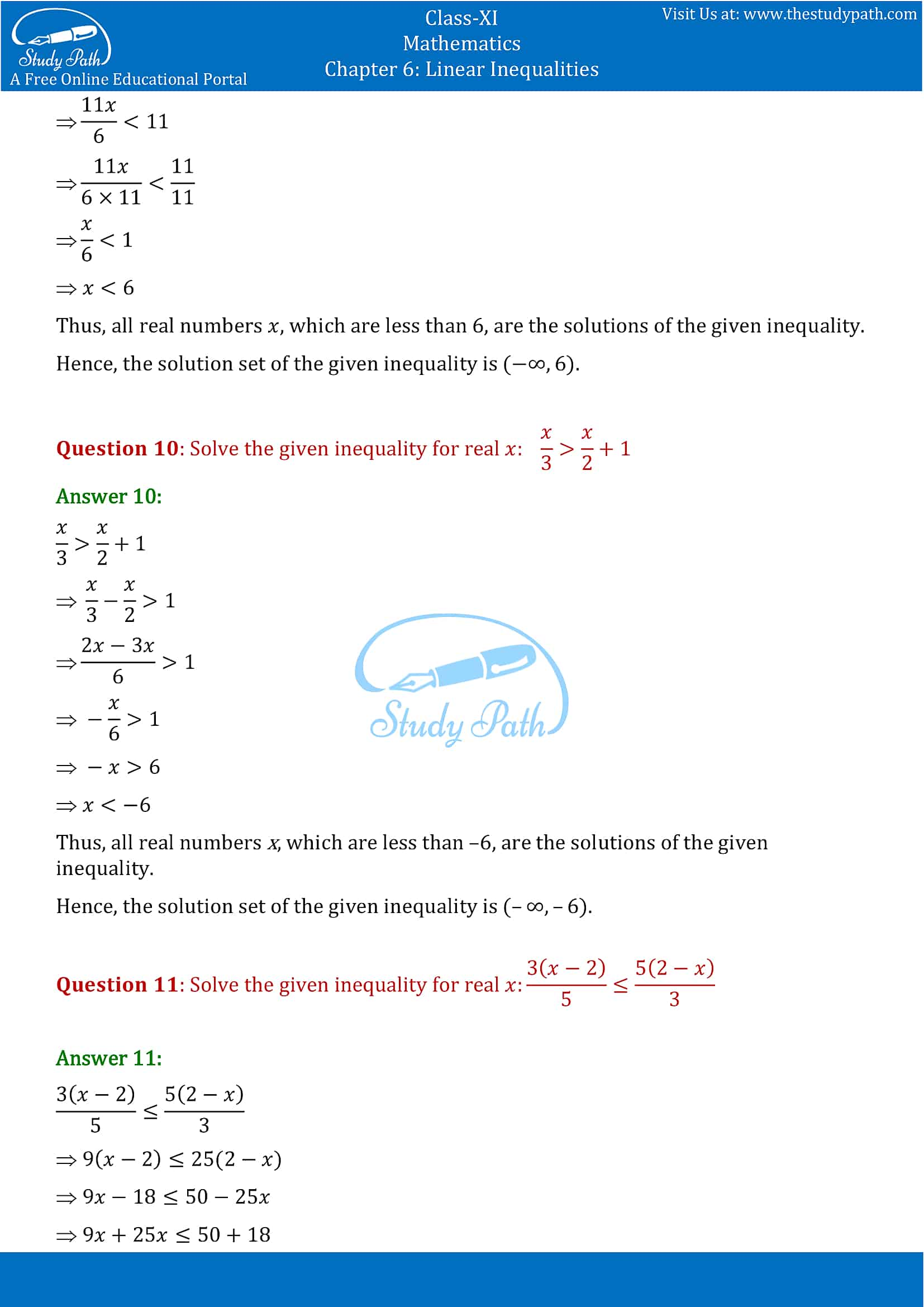 NCERT Solutions for Class 11 Maths chapter 6 Linear Inequalities Part-5