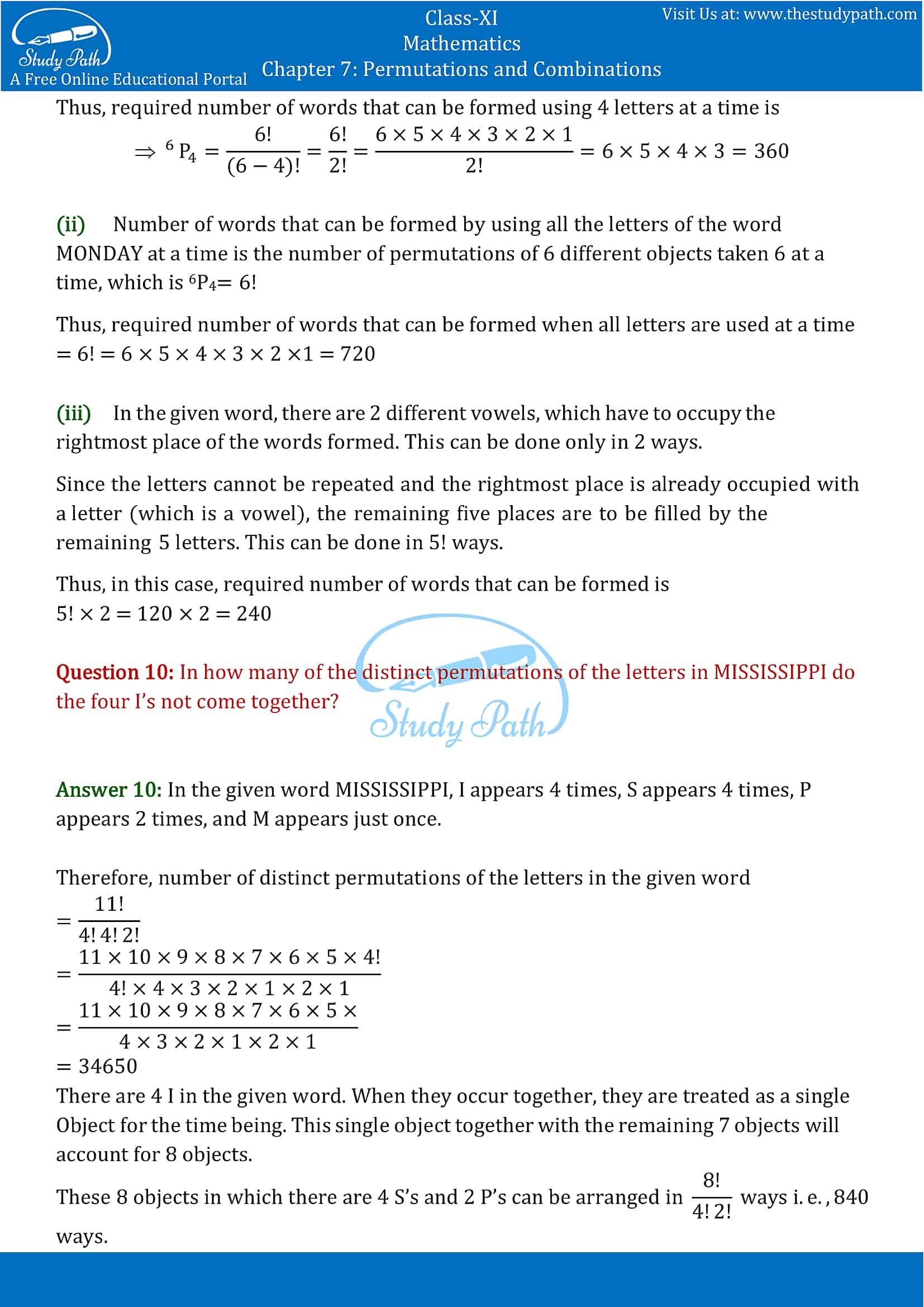 NCERT Solutions for Class 11 Maths chapter 7 Permutations and Combinations part-11