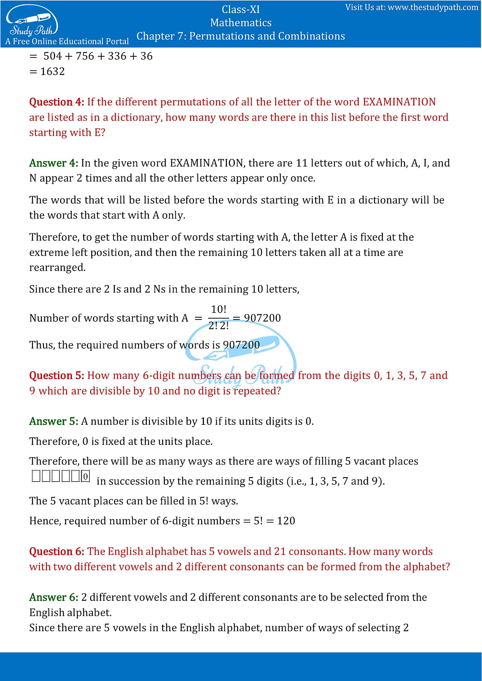 NCERT Solutions for Class 11 Maths chapter 7 Permutations and Combinations part-20