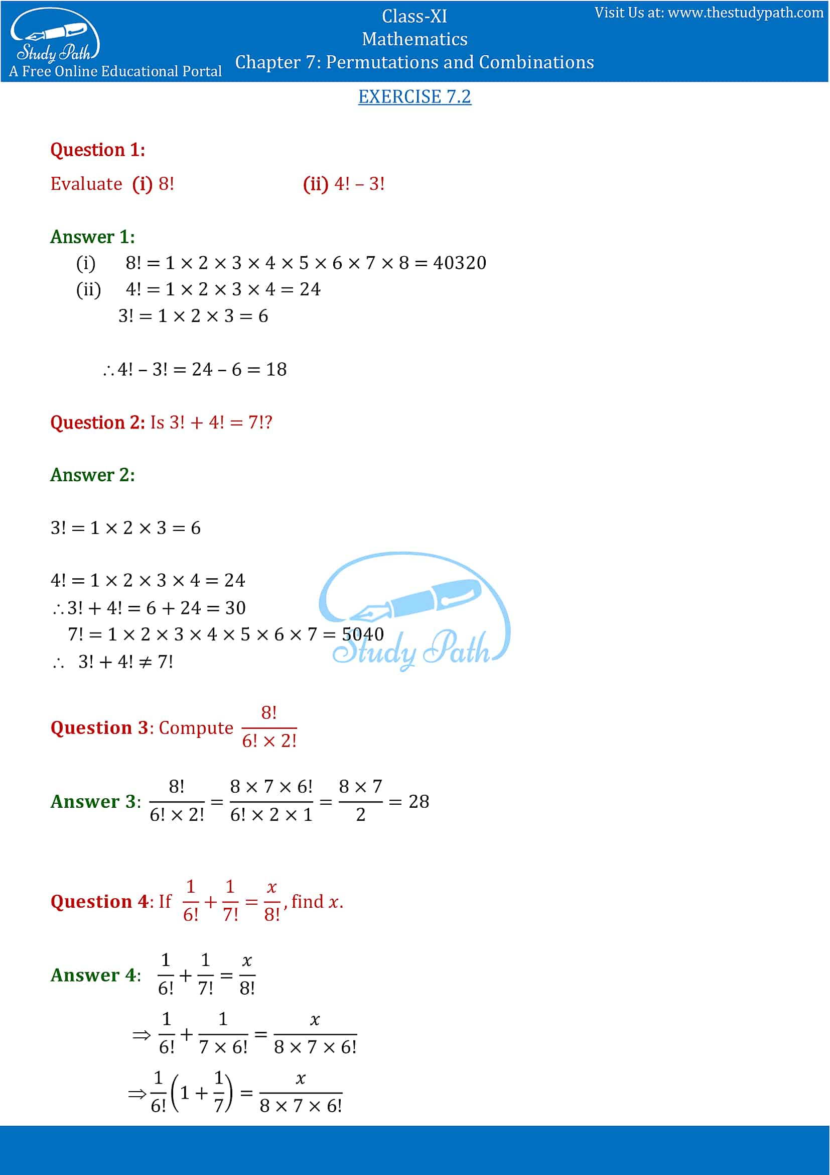NCERT Solutions for Class 11 Maths chapter 7 Permutations and Combinations part-4