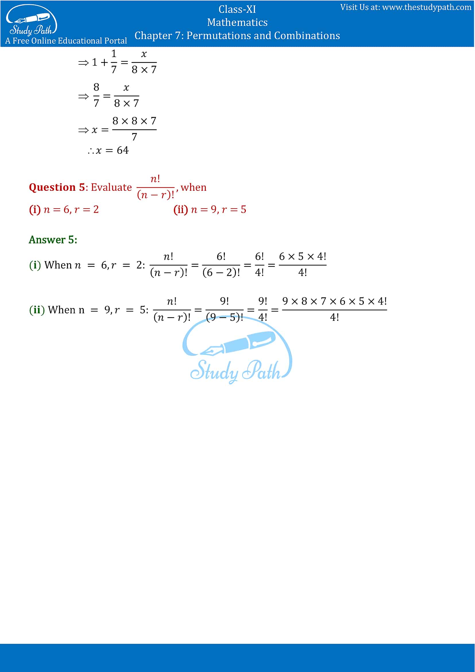 NCERT Solutions for Class 11 Maths chapter 7 Permutations and Combinations part-5