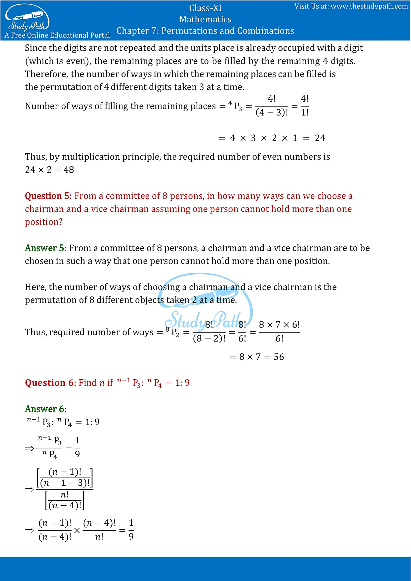 NCERT Solutions for Class 11 Maths chapter 7 Permutations and Combinations part-8