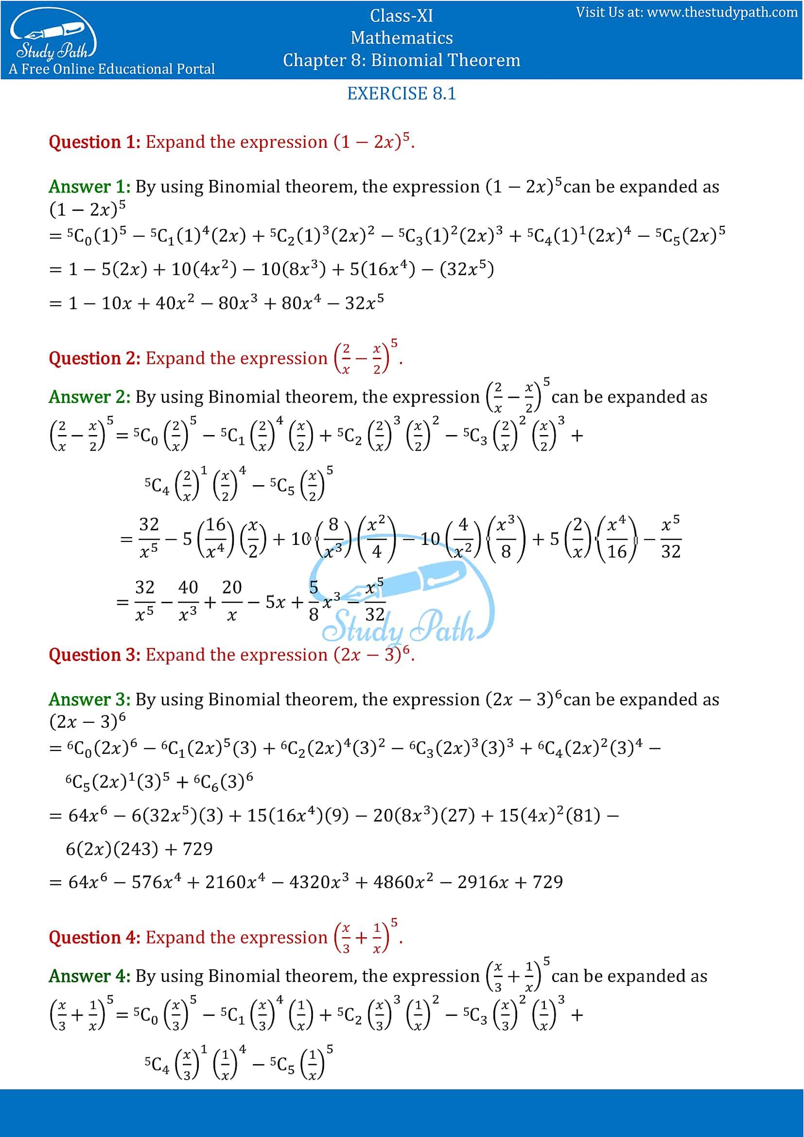 NCERT Solutions for Class 11 Maths chapter 8 Binomial Theorem part-1