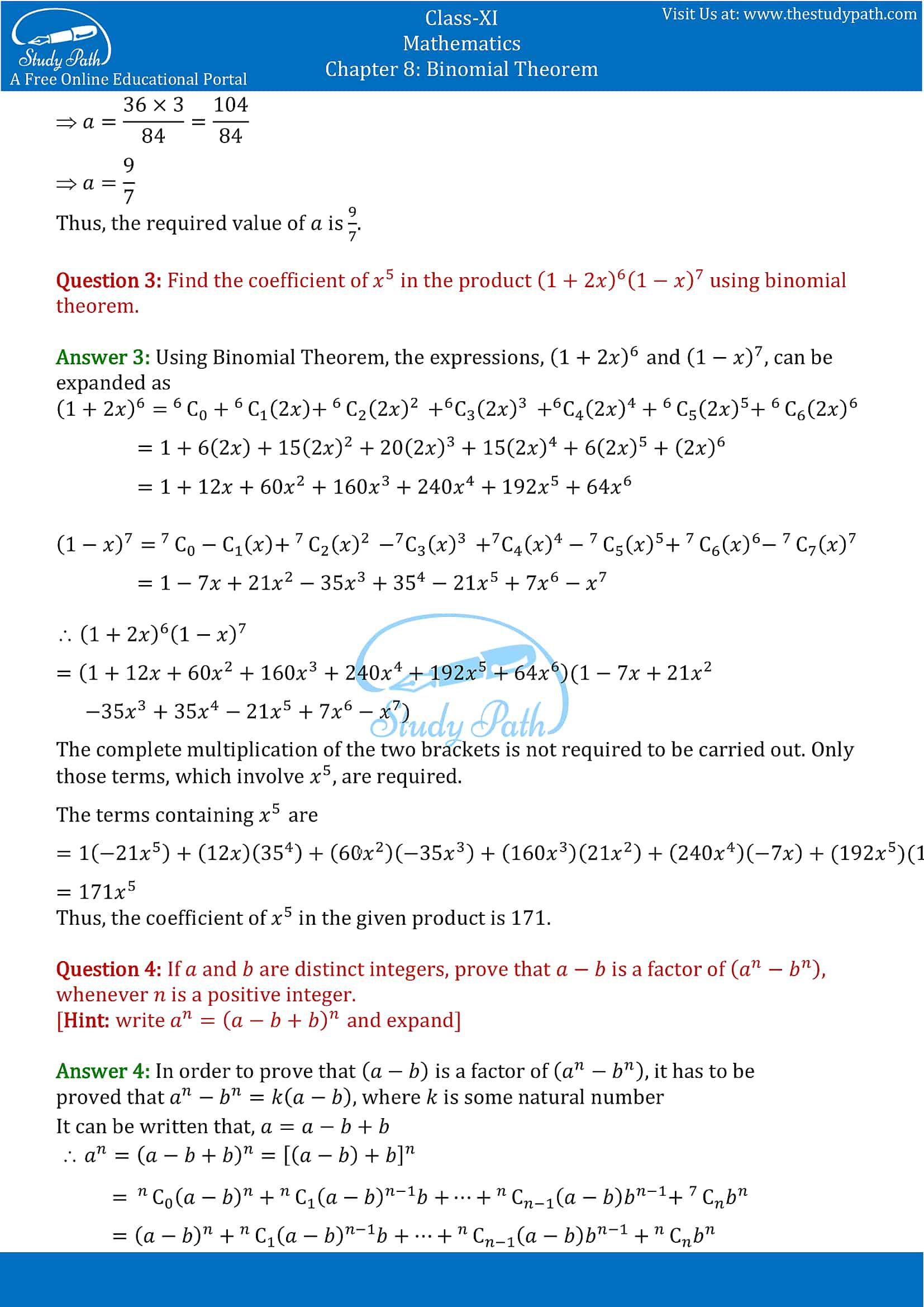NCERT Solutions for Class 11 Maths chapter 8 Binomial Theorem part-16
