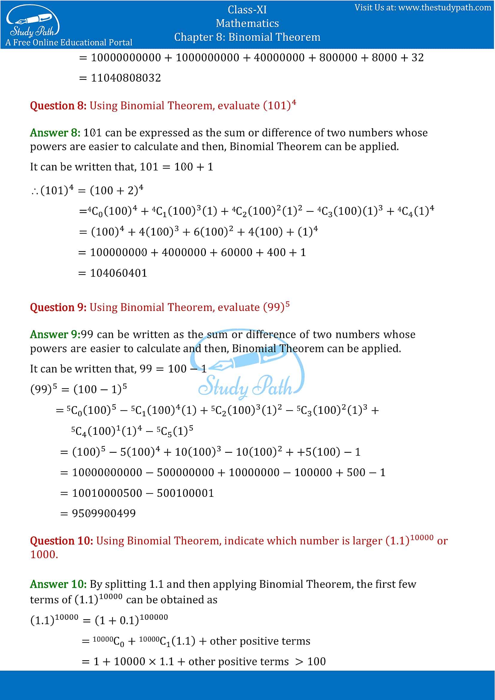 NCERT Solutions for Class 11 Maths chapter 8 Binomial Theorem part-3