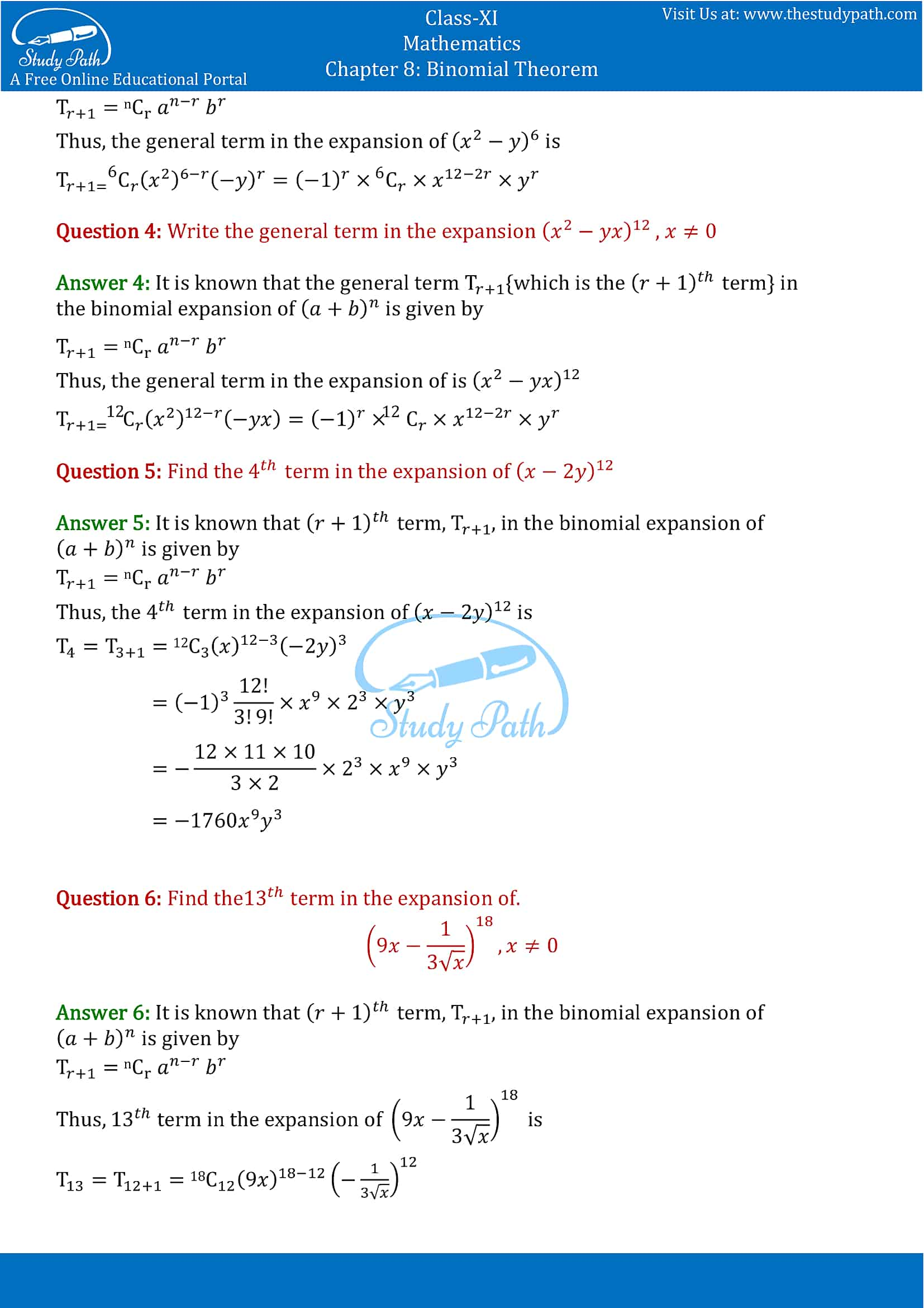 NCERT Solutions for Class 11 Maths chapter 8 Binomial Theorem part-7