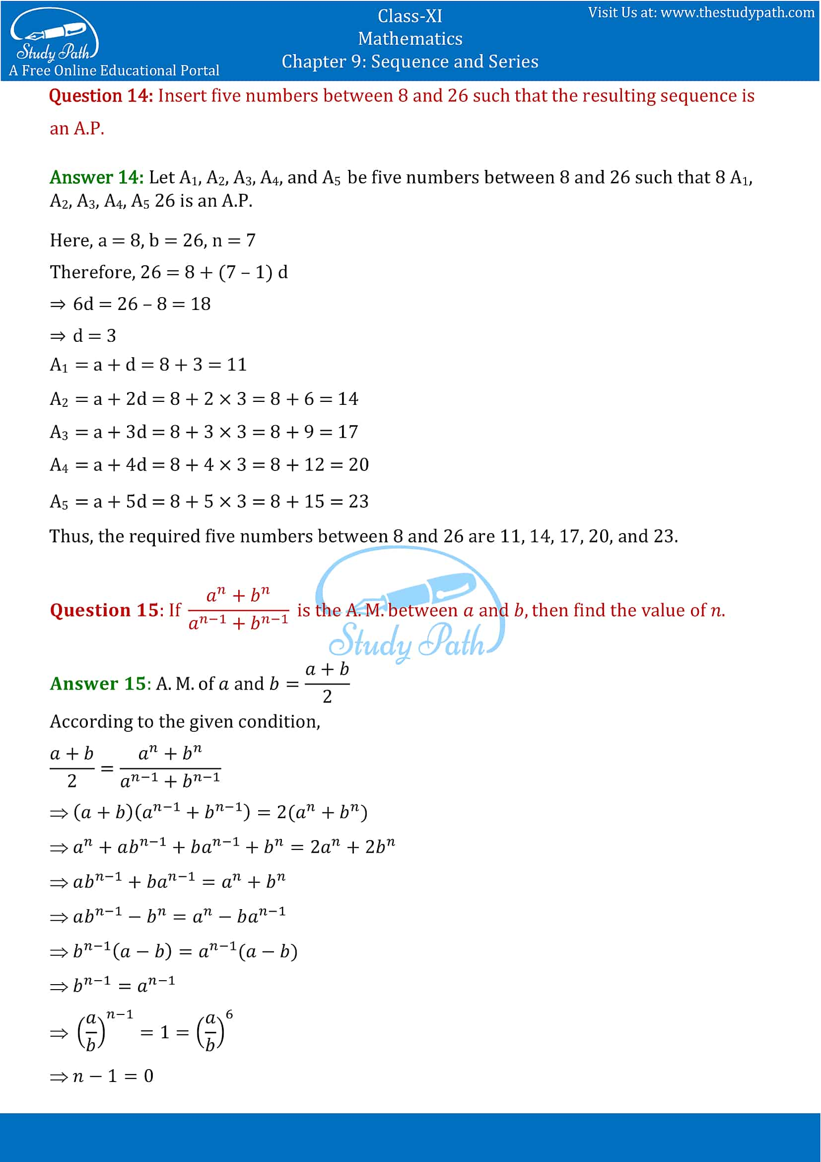 NCERT Solutions for Class 11 Maths chapter 9 Sequence and Series Exercise 9.2 Part-10