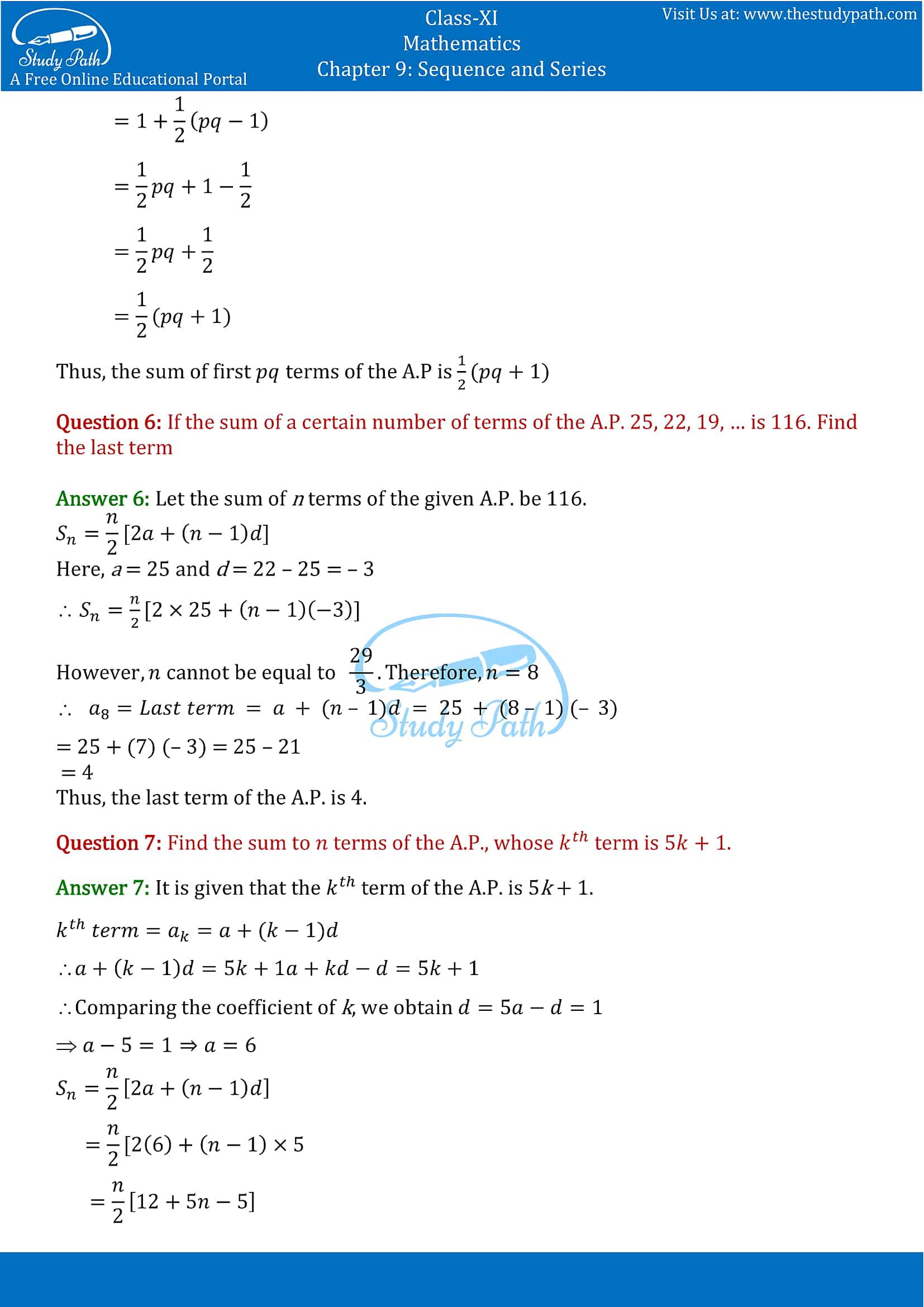 NCERT Solutions for Class 11 Maths chapter 9 Sequence and Series Exercise 9.2 Part-4
