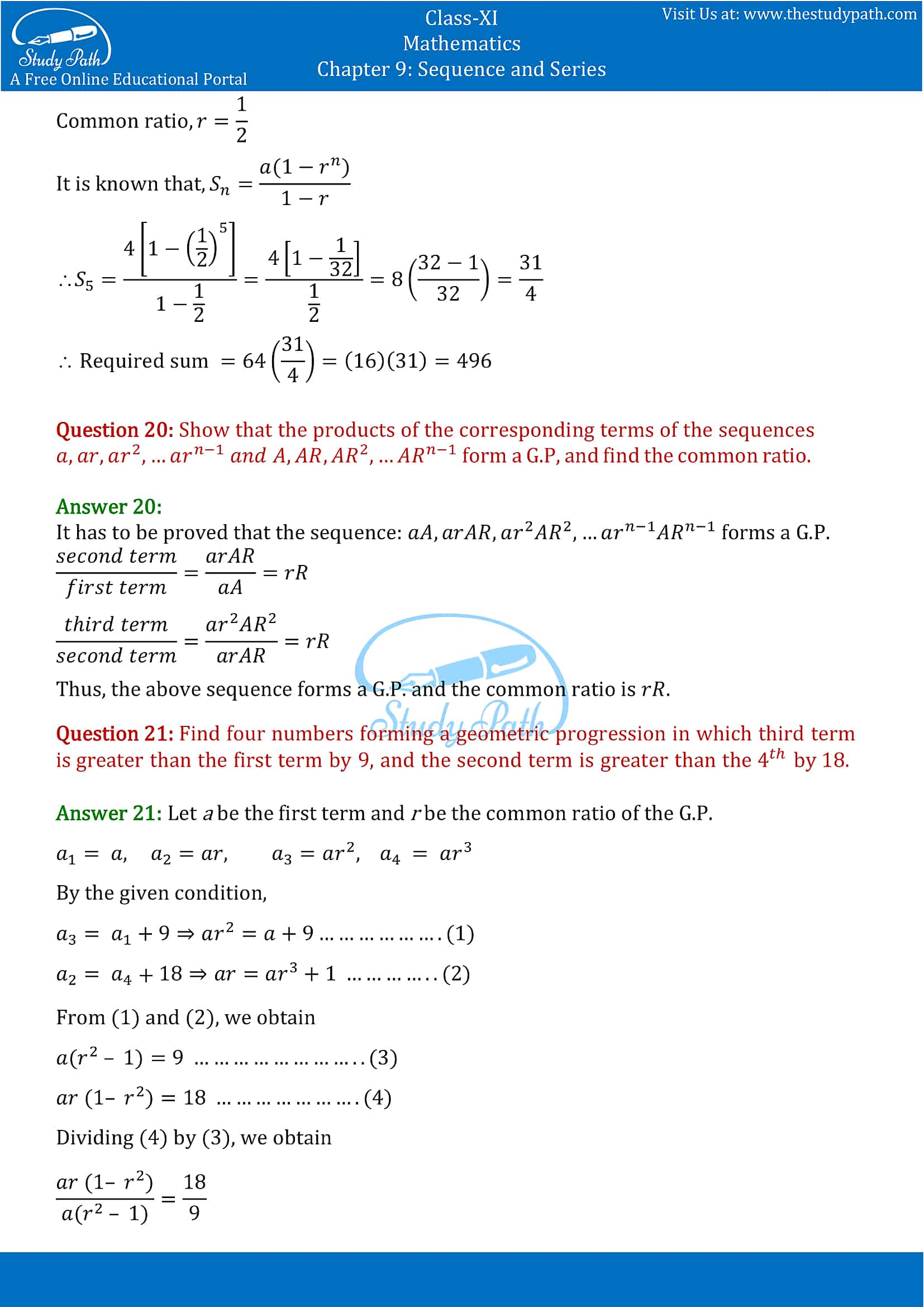 NCERT Solutions for Class 11 Maths chapter 9 Sequence and Series Exercise 9.3 Part-12