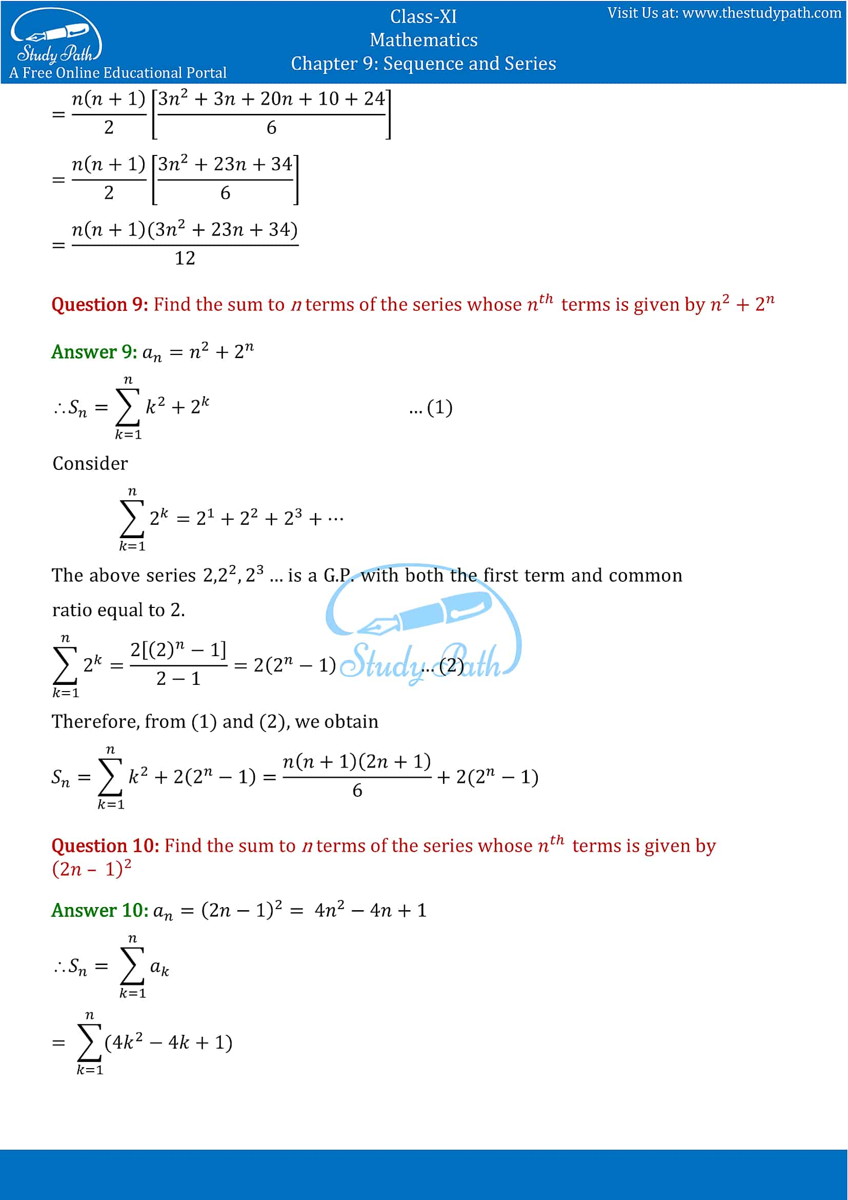 NCERT Solutions for Class 11 Maths chapter 9 Sequence and Series Exercise 9.4 Part-6