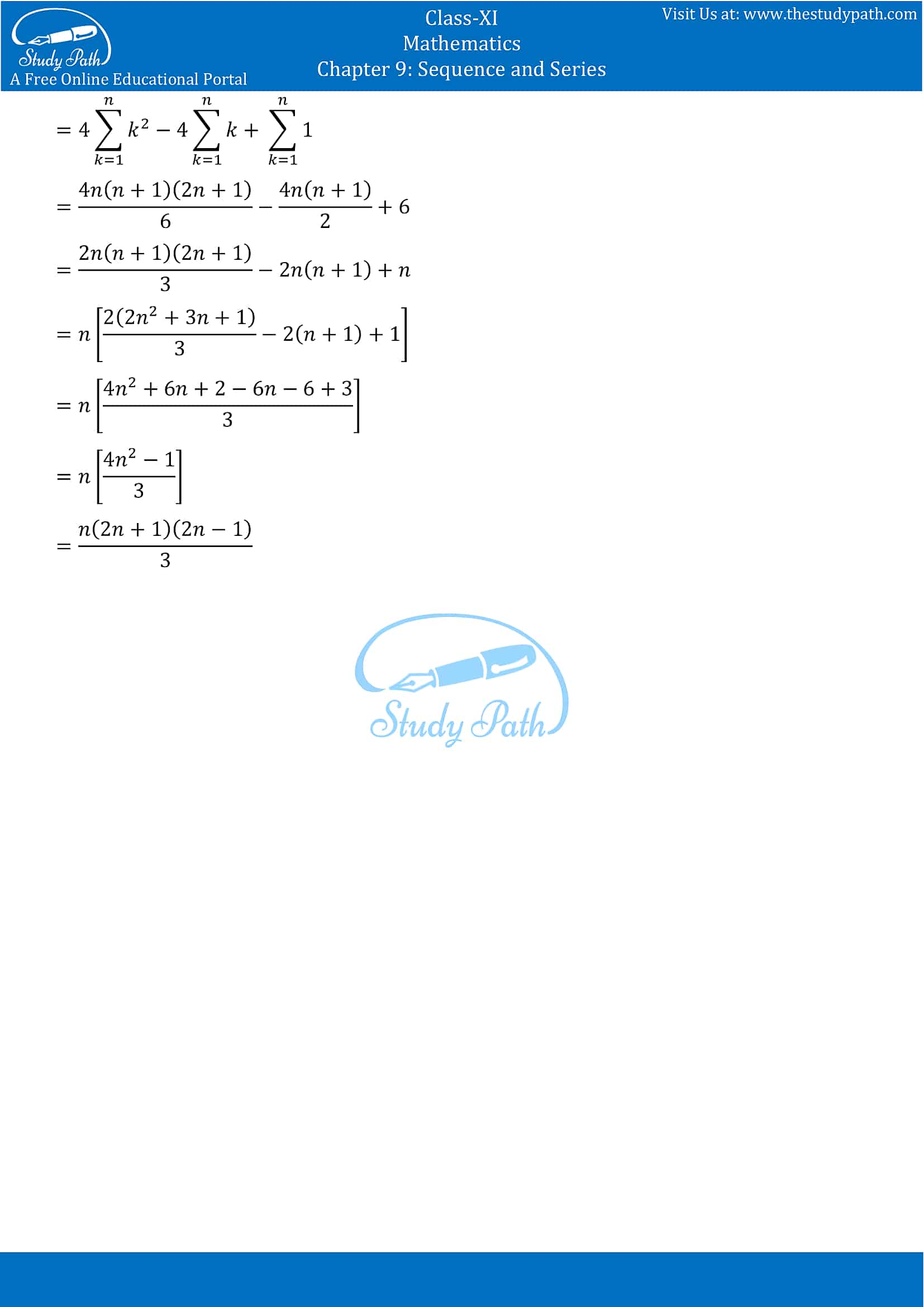 NCERT Solutions for Class 11 Maths chapter 9 Sequence and Series Exercise 9.4 Part-7