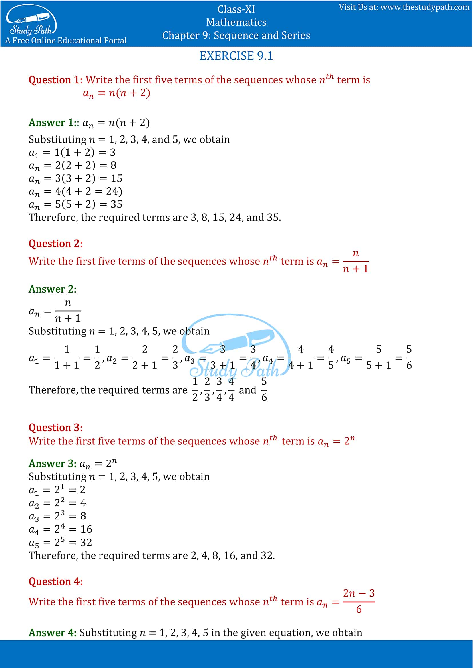 NCERT Solutions for Class 11 Maths chapter 9 Sequence and Series Part-1