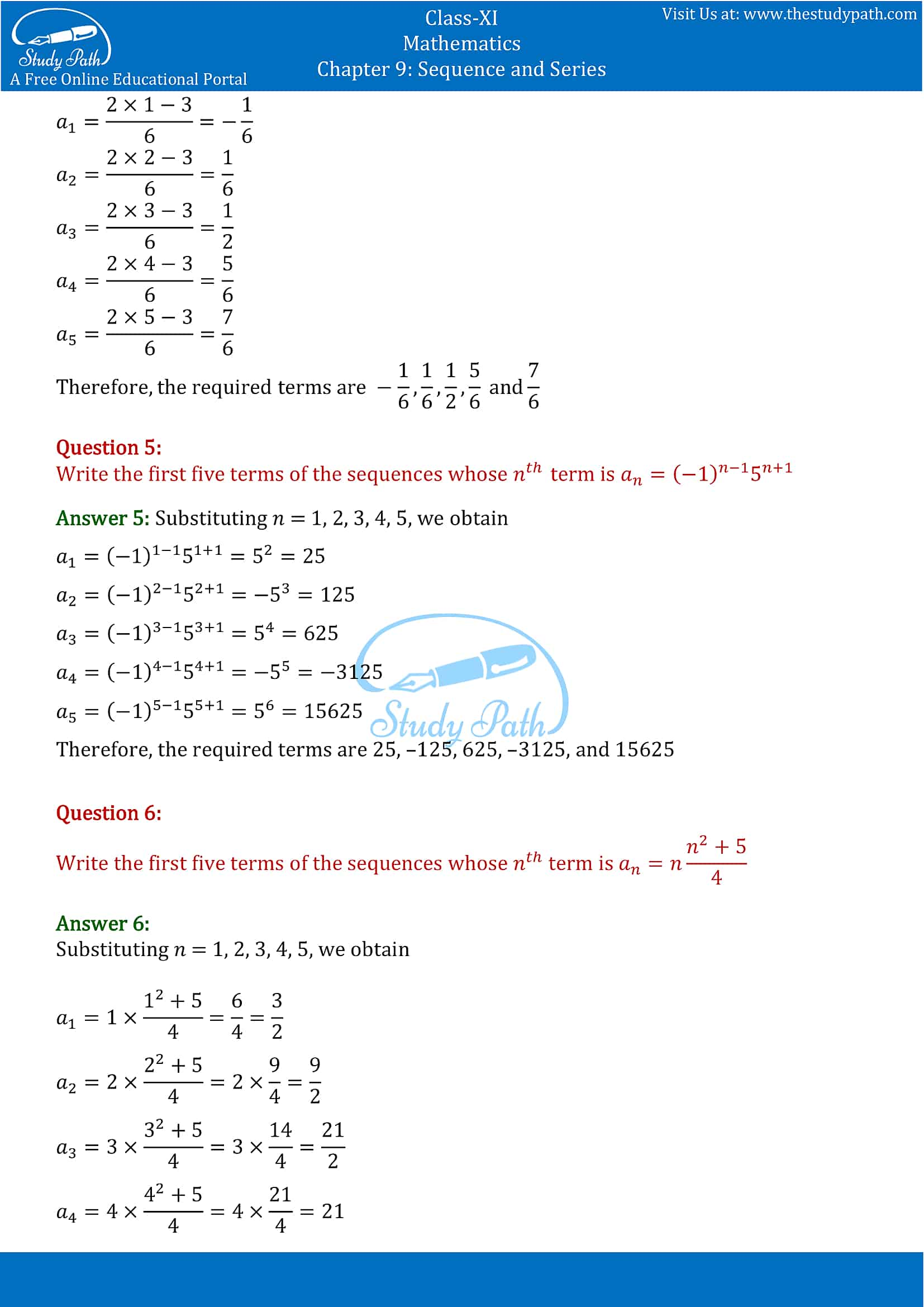 NCERT Solutions for Class 11 Maths chapter 9 Sequence and Series Part-2