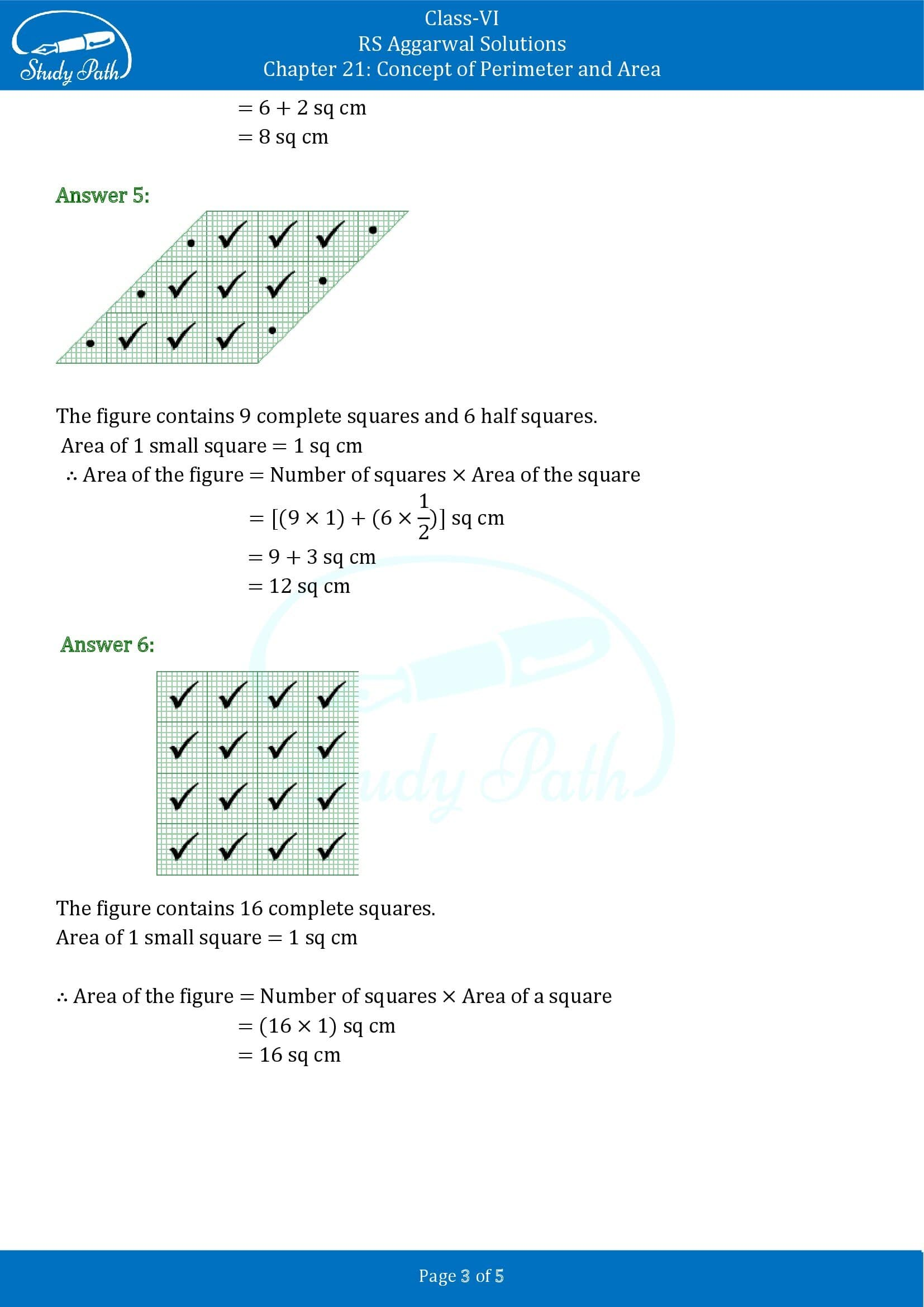 RS Aggarwal Solutions Class 6 Chapter 21 Concept of Perimeter and Area Exercise 21C 00003