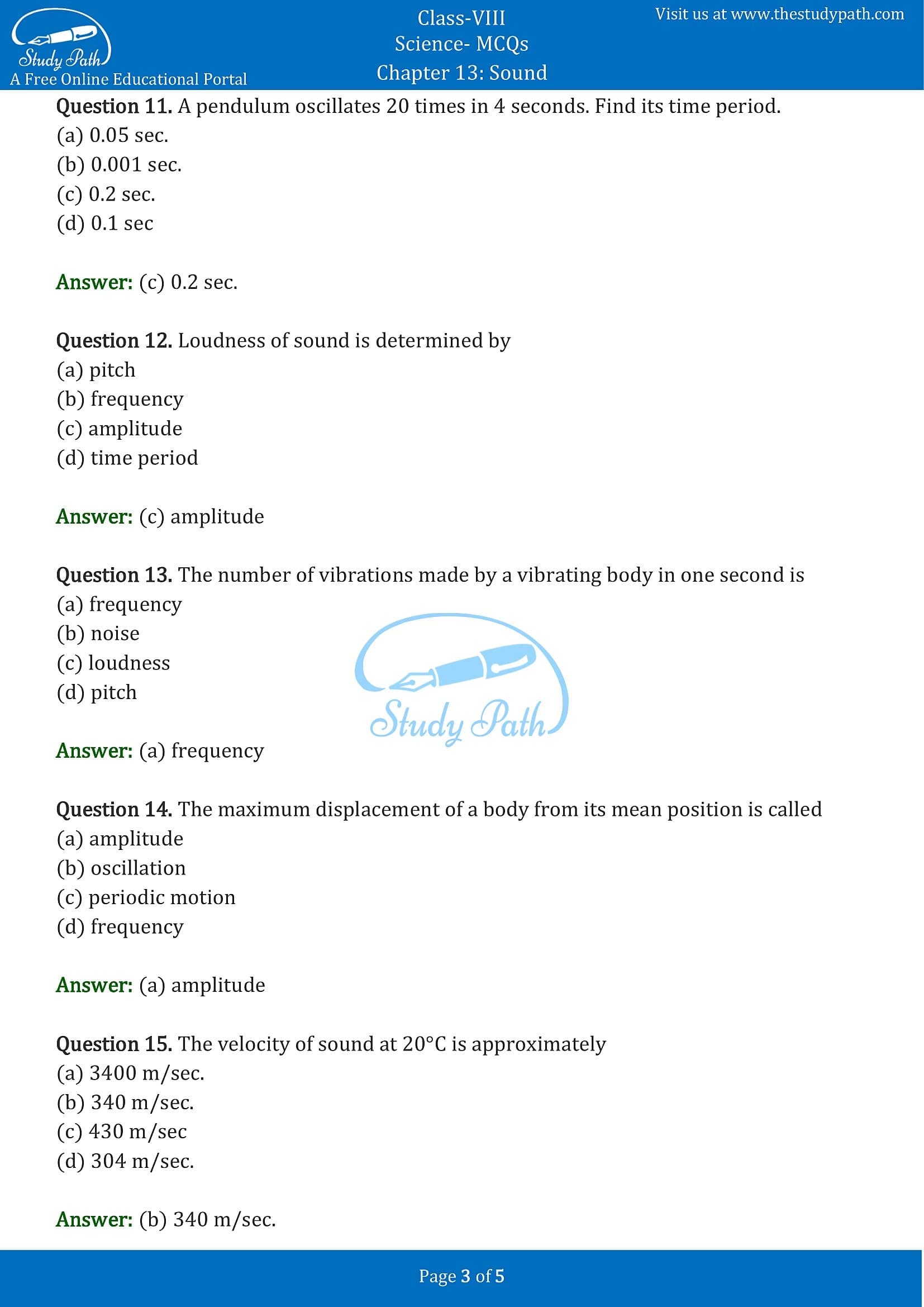 MCQ Questions for Class 8 Science Chapter 13 Sound with Answers PDF -3