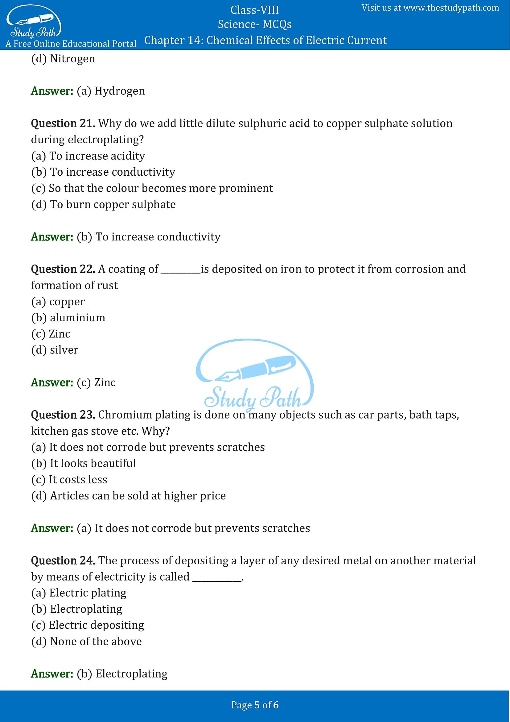 MCQ Questions for Class 8 Science Chapter 14 Chemical Effects of Electric Current PDF -5