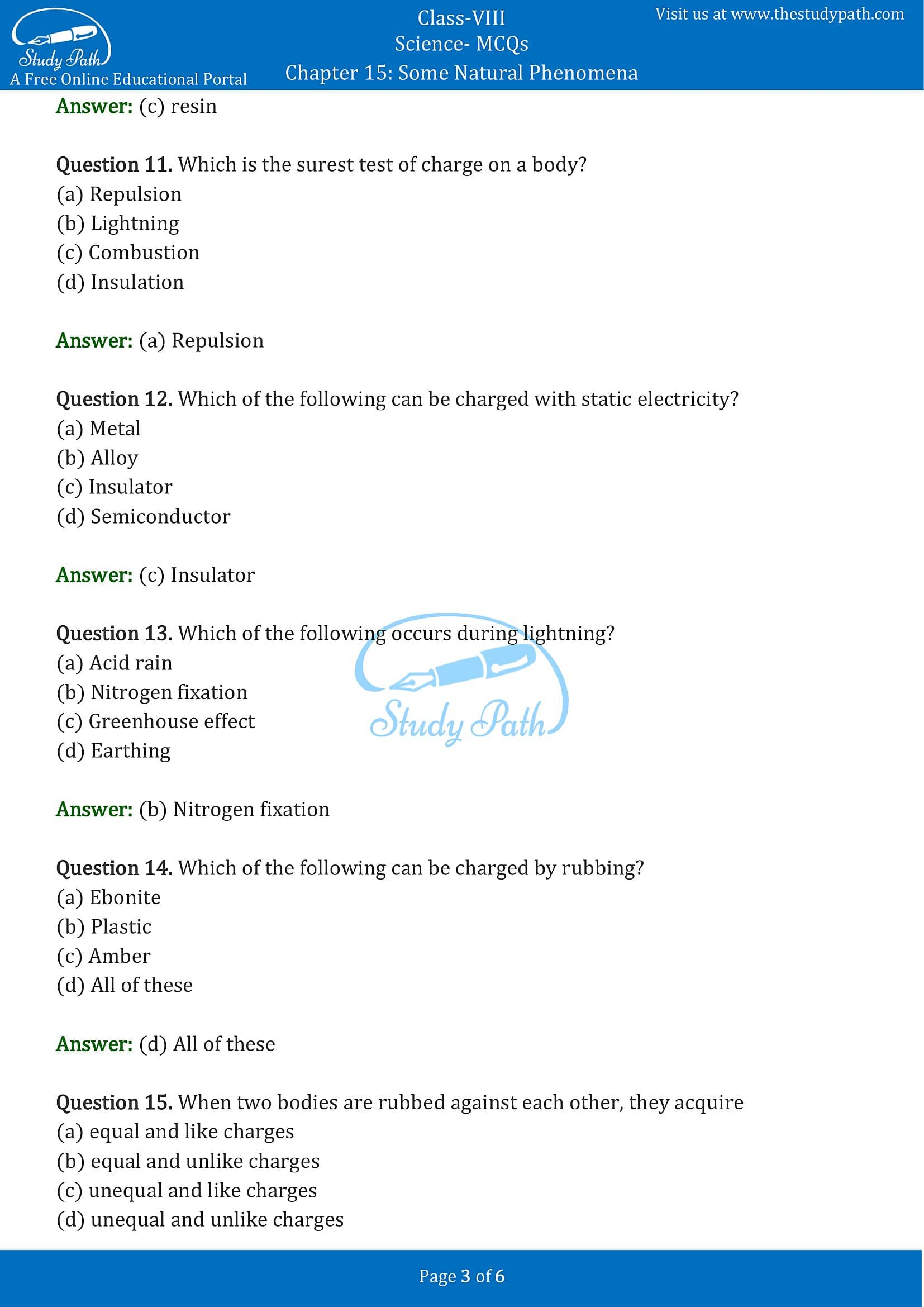 MCQ Questions for Class 8 Science Chapter 15 Some Natural Phenomena with Answers PDF -3