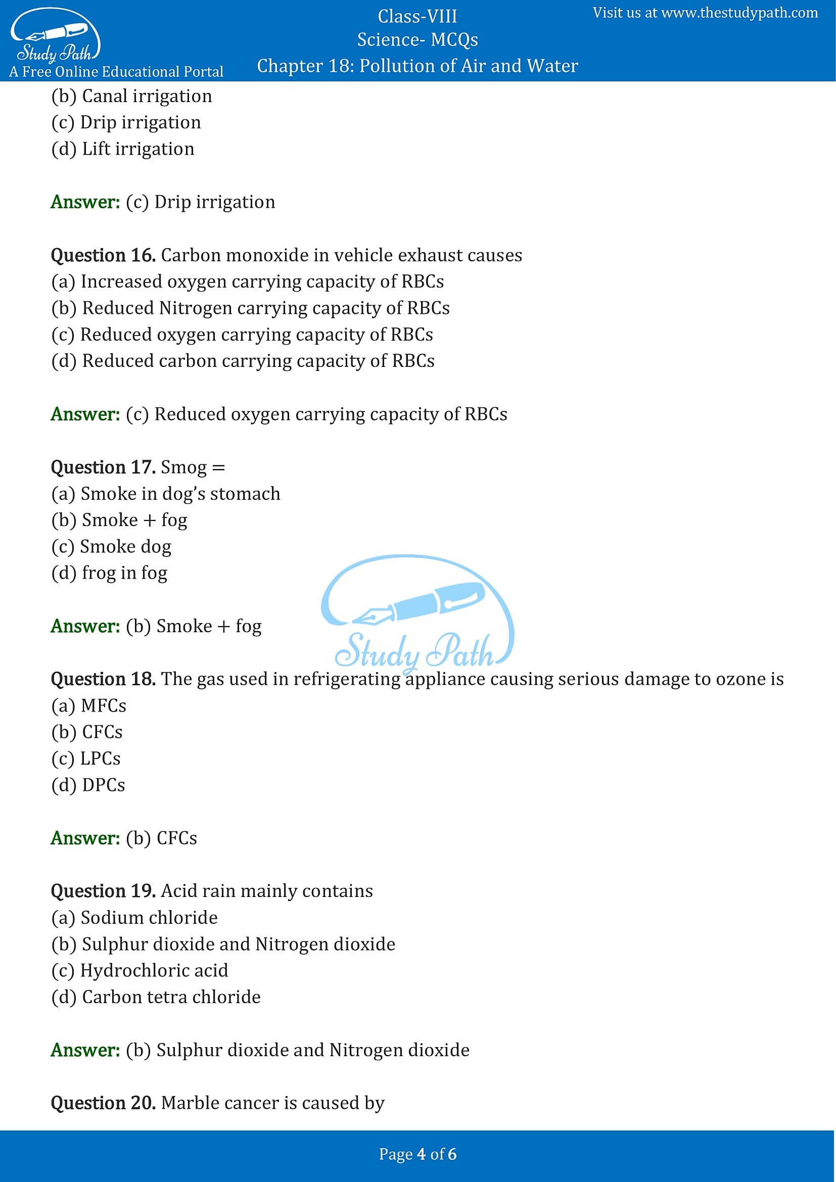 MCQ Questions for Class 8 Science Chapter 18 Pollution of Air and Water with Answers PDF -4