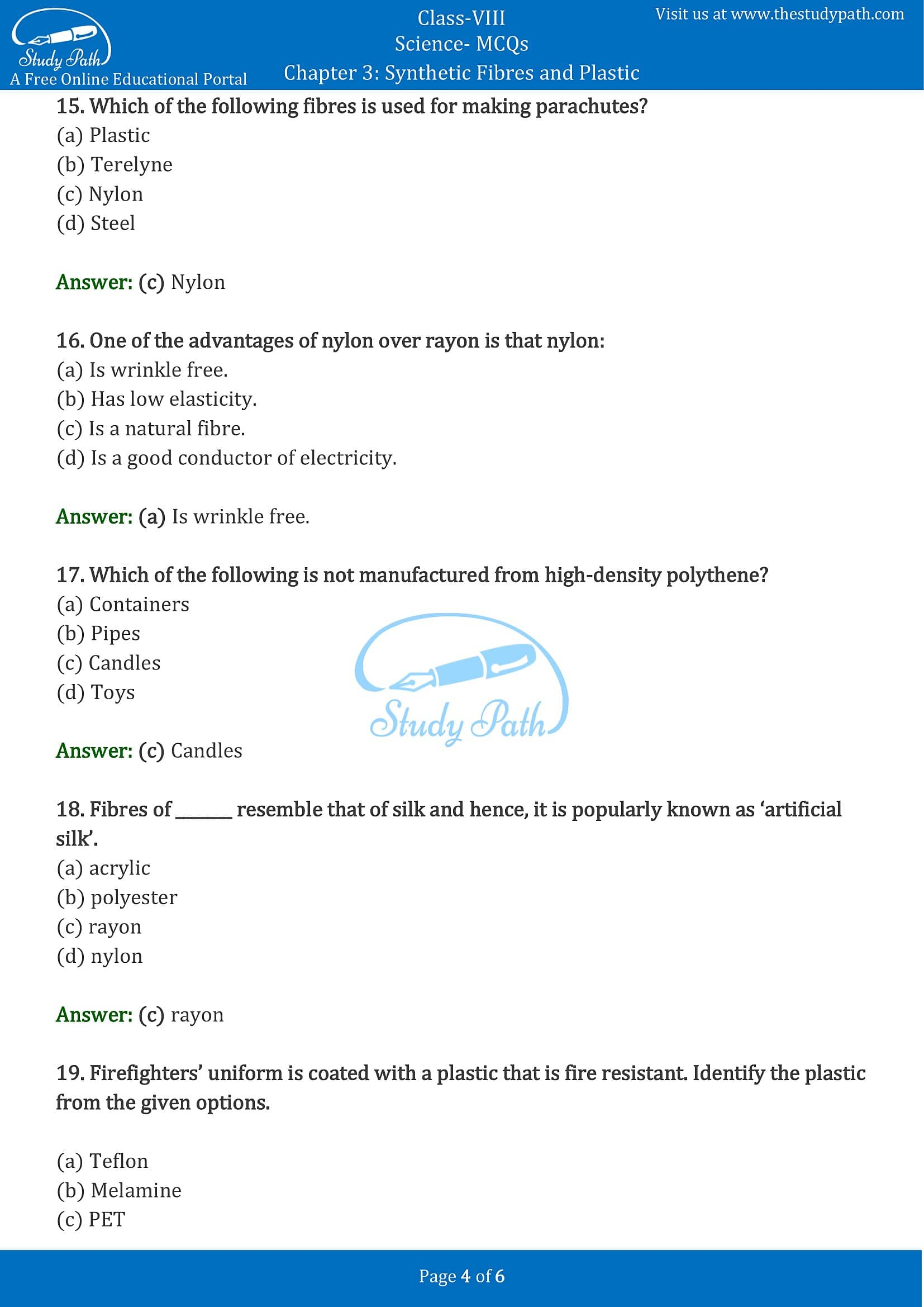 MCQ Questions for Class 8 Science Chapter 3 Synthetic Fibres and Plastics with Answers PDF -4