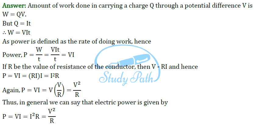 Class 10 Science Chapter 12 Electricity Important Question 12