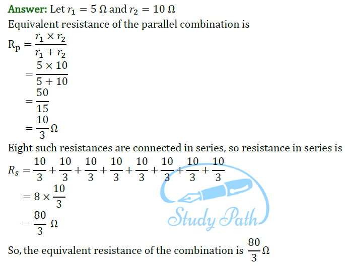 Class 10 Science Chapter 12 Electricity Important Question 7