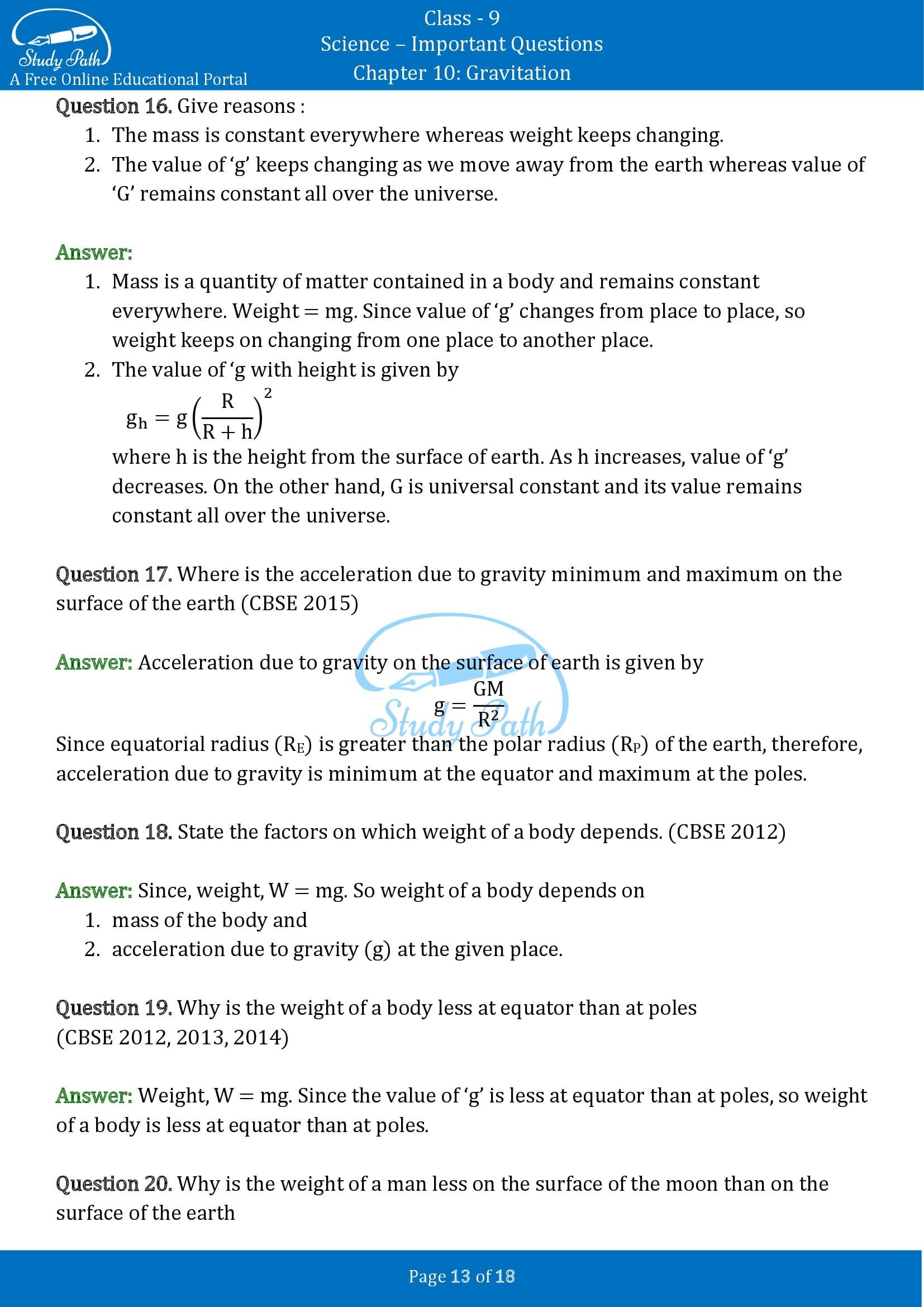 Important Questions for Class 9 Science Chapter 10 Gravitation 00013