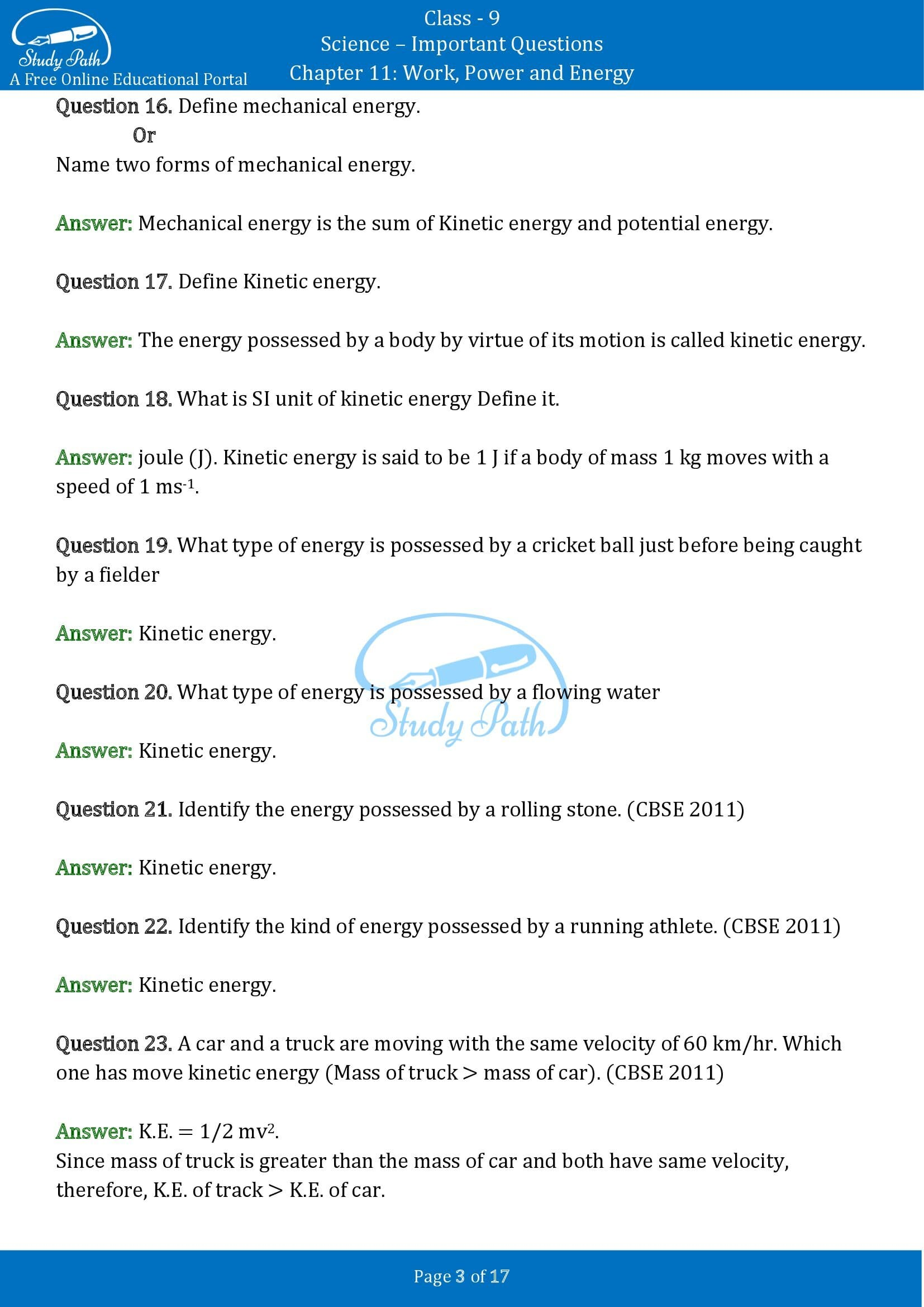 Important Questions for Class 9 Science Chapter 11 Work Power and Energy 00003