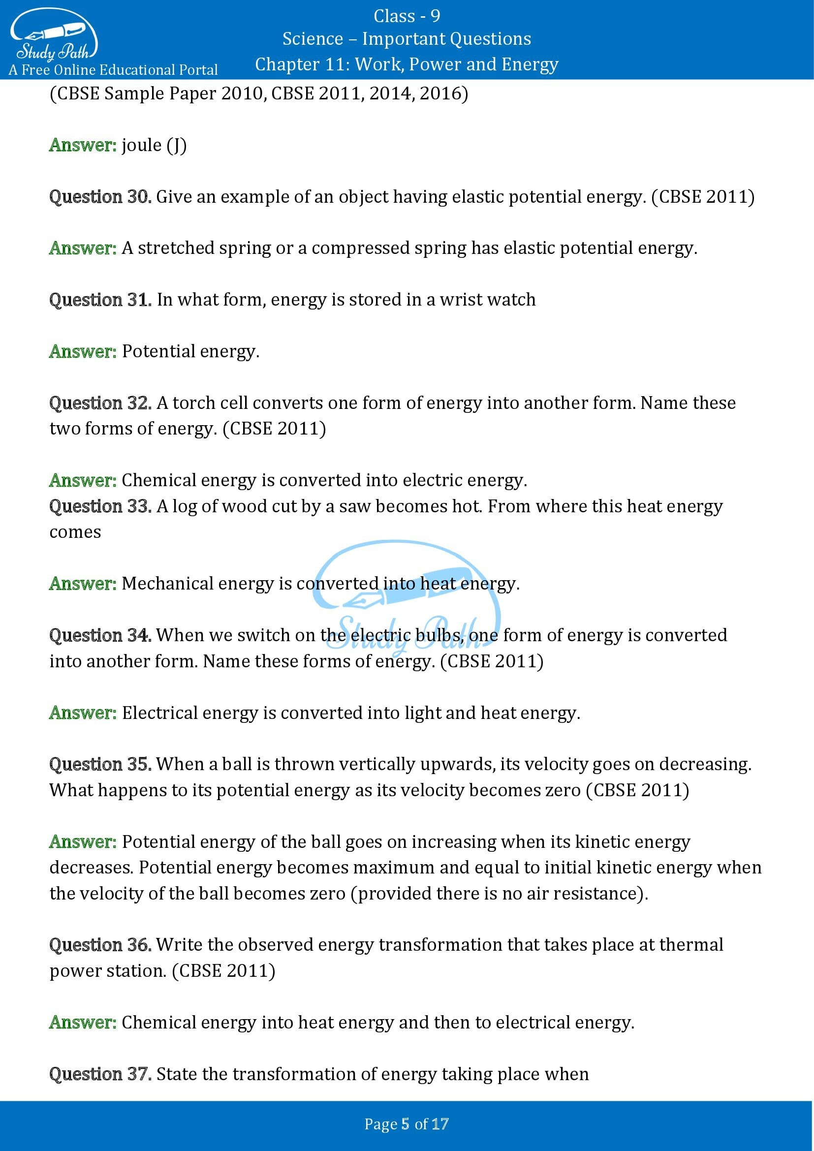 Important Questions for Class 9 Science Chapter 11 Work Power and Energy 00005