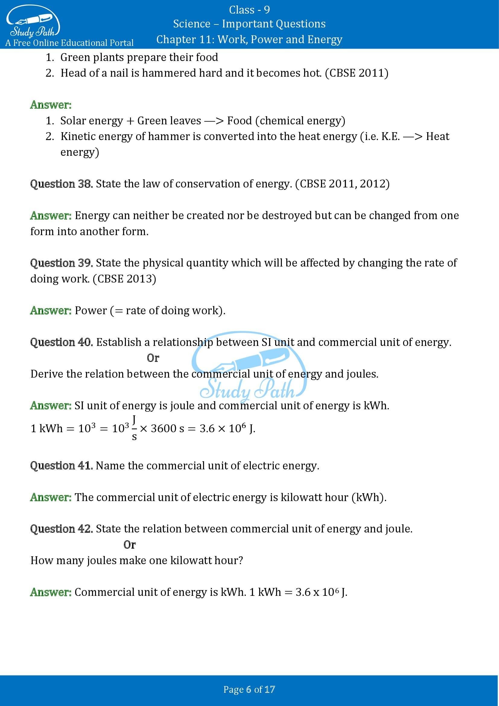 Important Questions for Class 9 Science Chapter 11 Work Power and Energy 00006