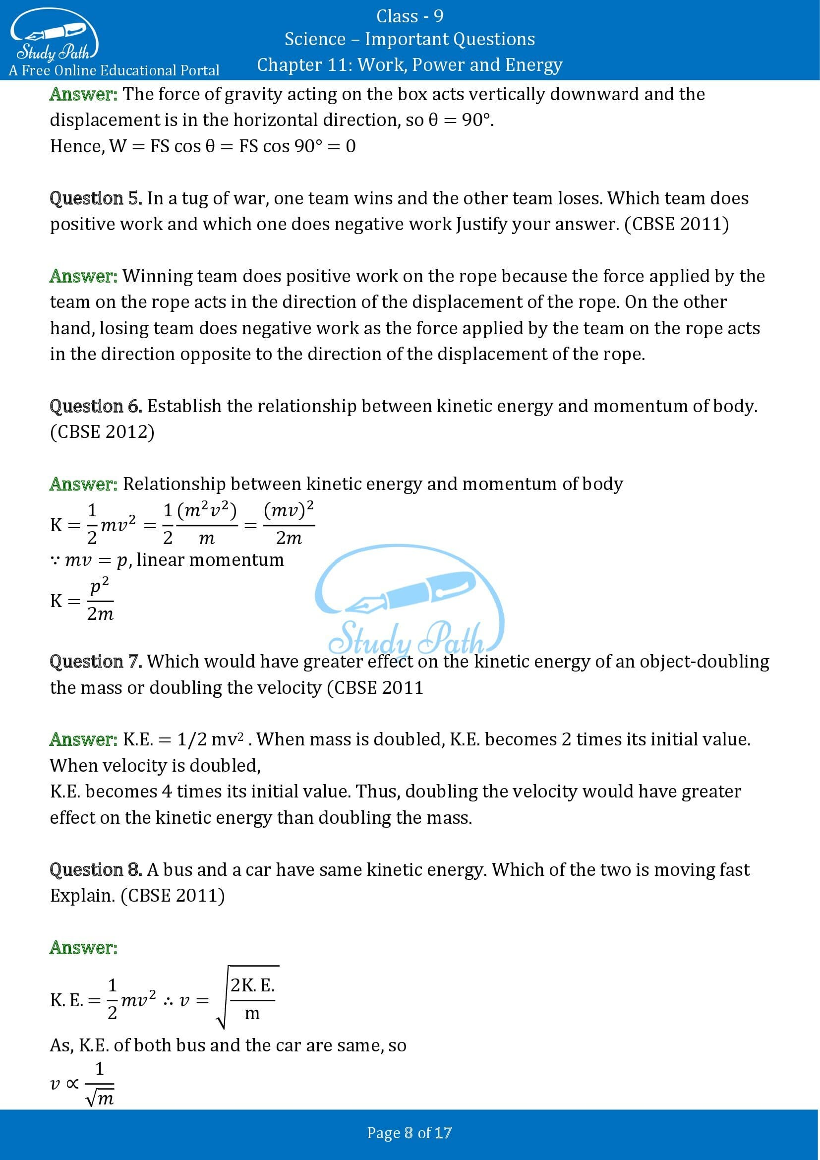 Important Questions for Class 9 Science Chapter 11 Work Power and Energy 00008