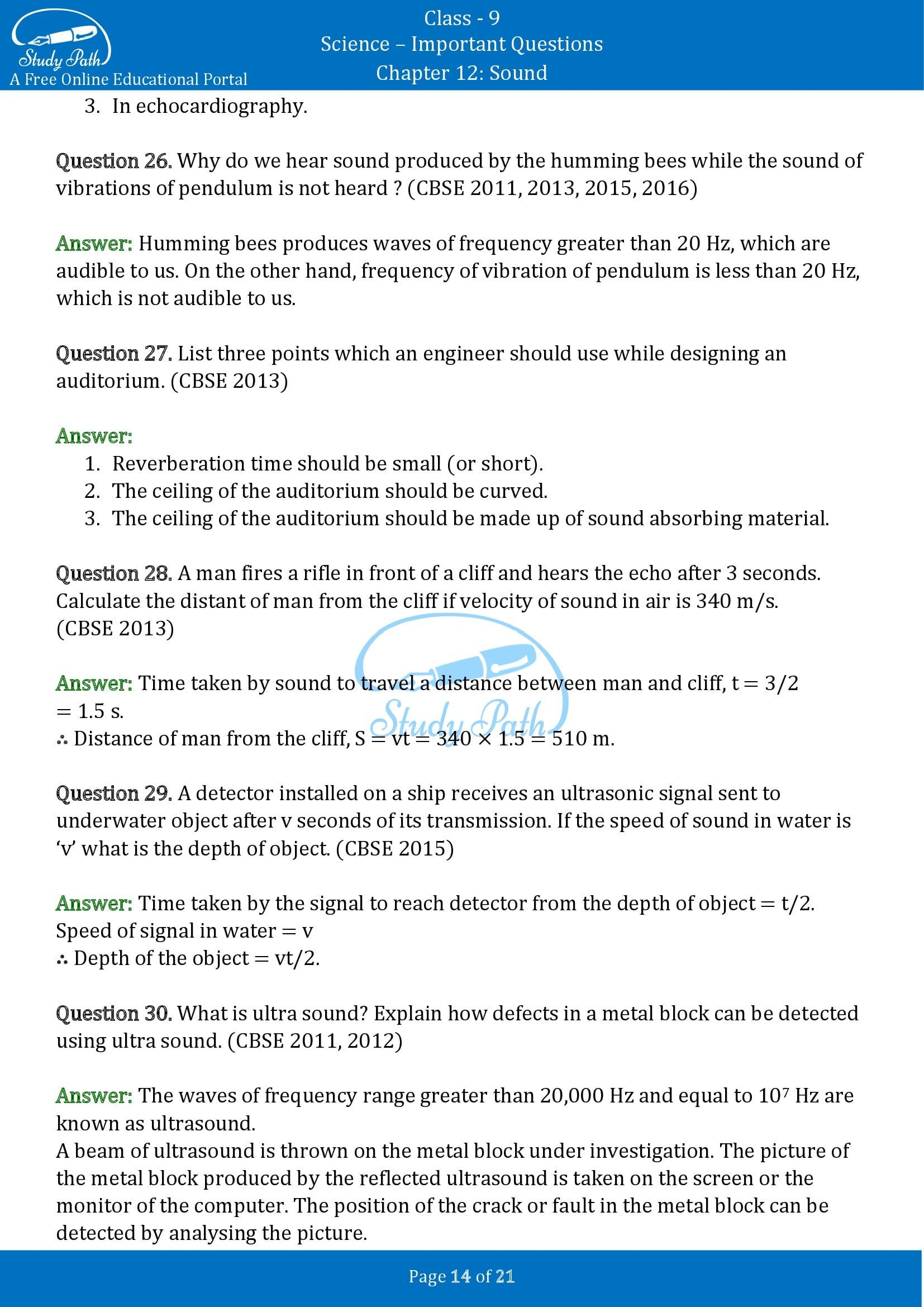 Important Questions for Class 9 Science Chapter 12 Sound 00014
