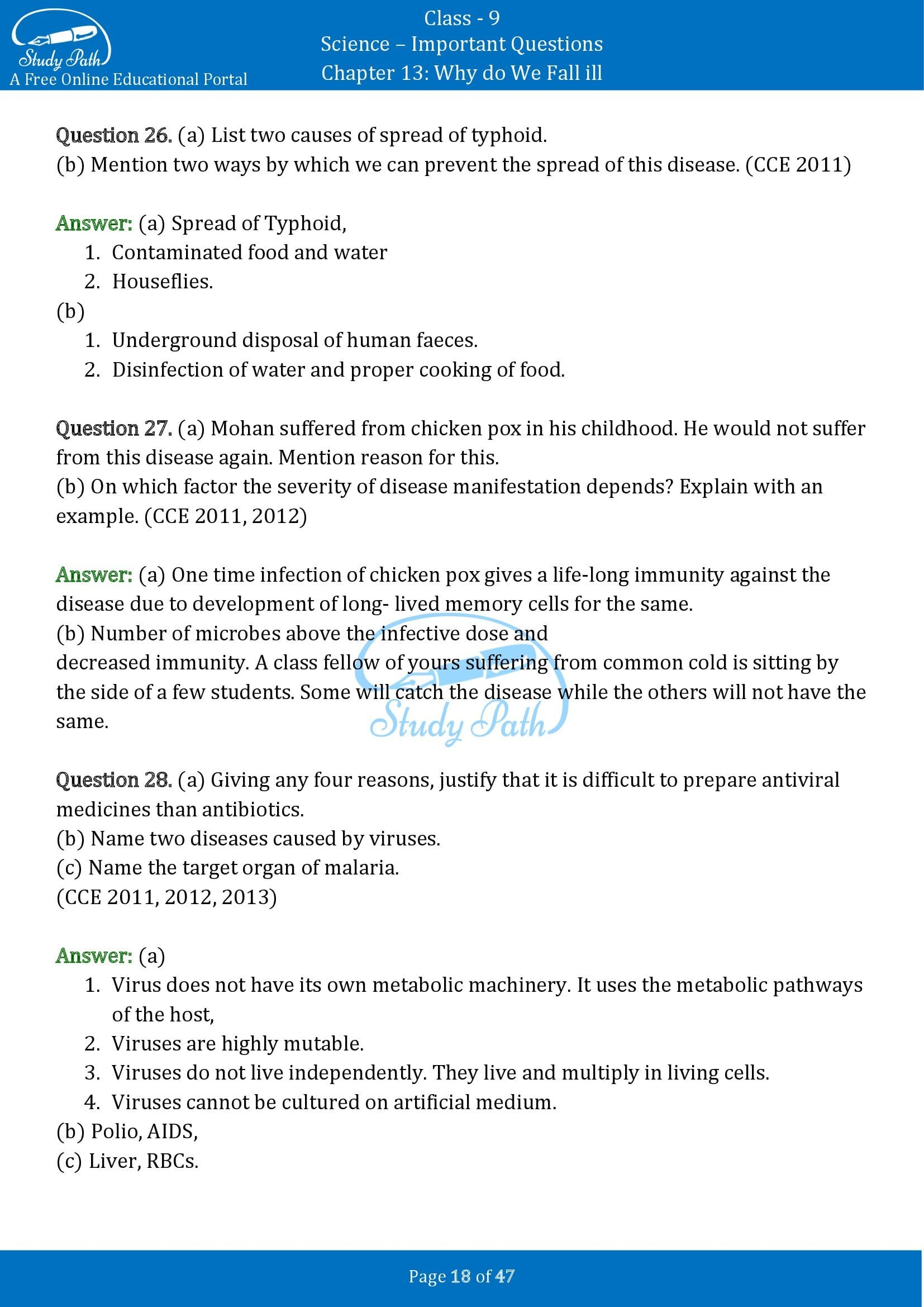 Important Questions for Class 9 Science Chapter 13 Why do We Fall ill 00018