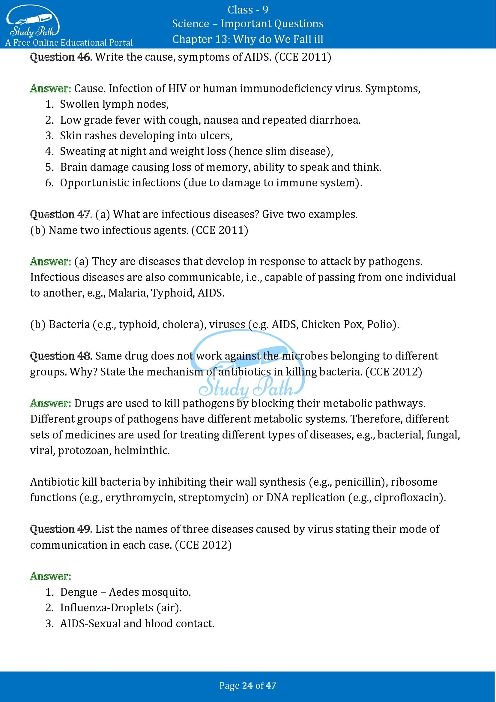 Important Questions for Class 9 Science Chapter 13 Why do We Fall ill 00024
