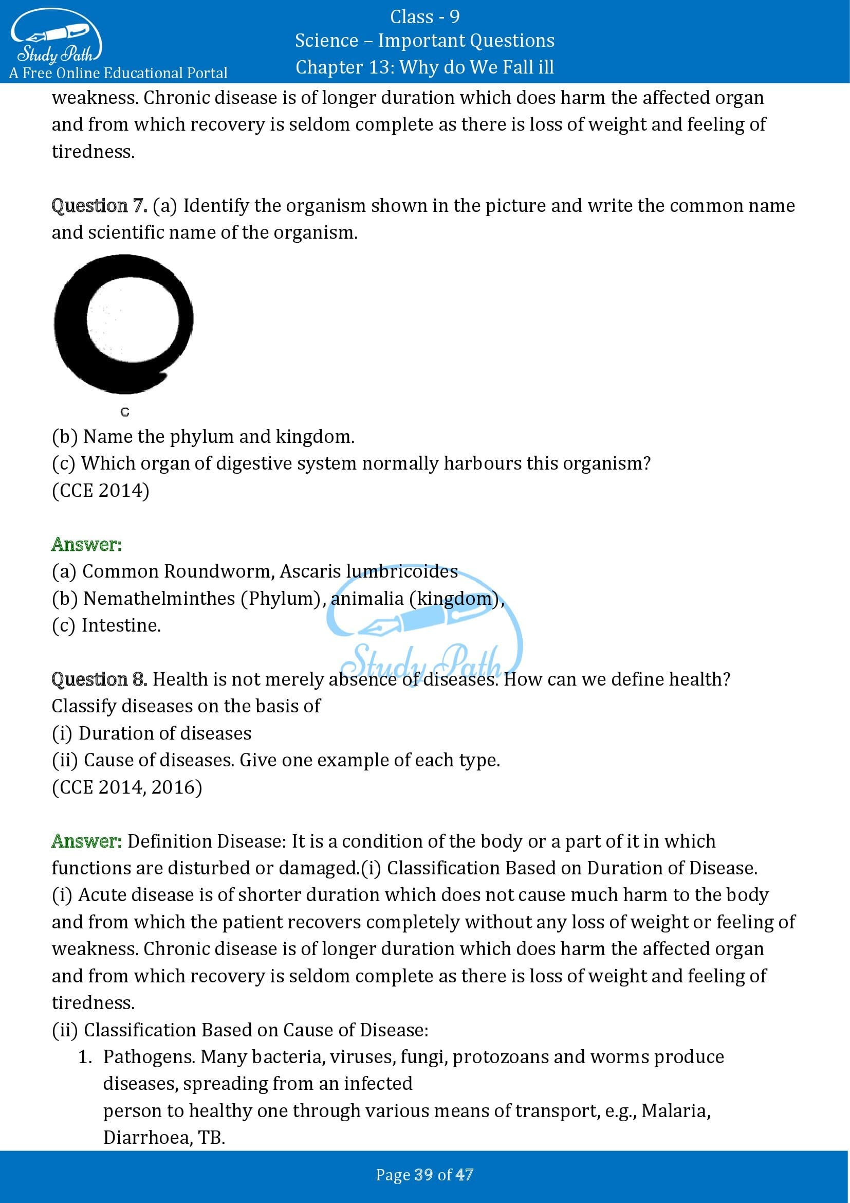 Important Questions for Class 9 Science Chapter 13 Why do We Fall ill 00039