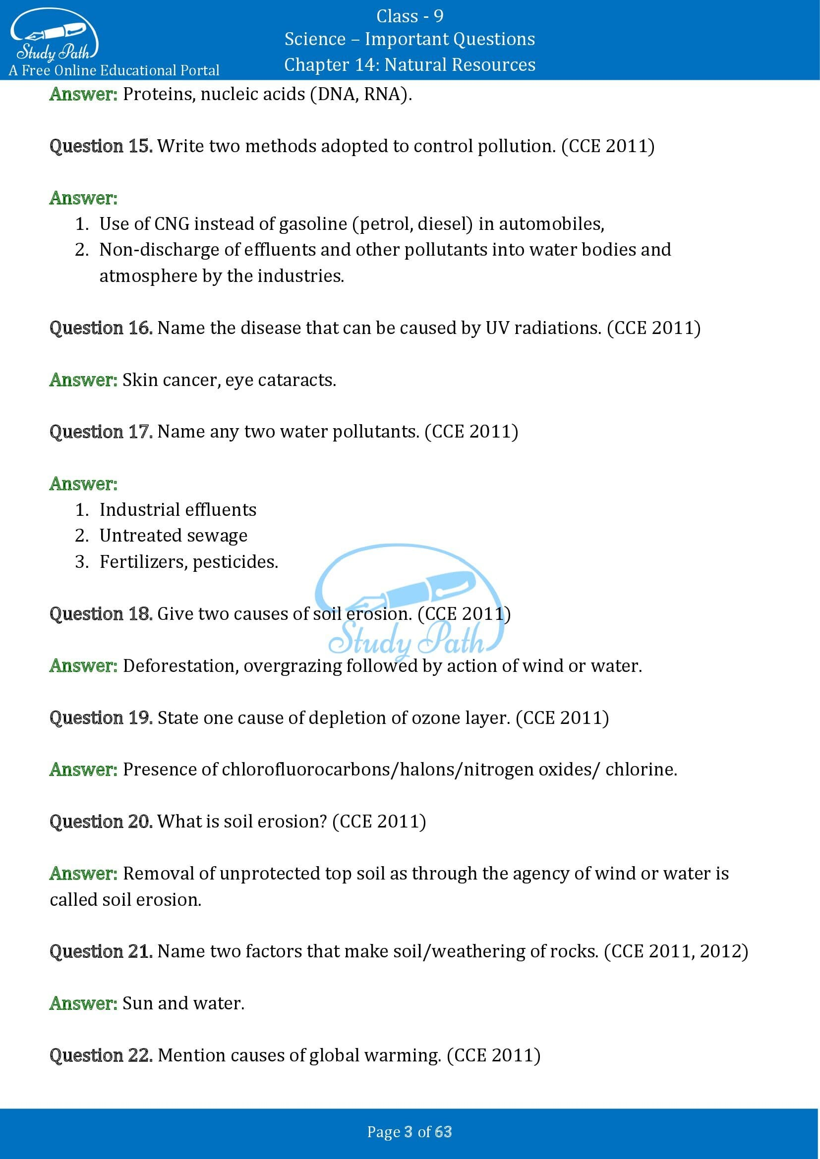 Important Questions for Class 9 Science Chapter 14 Natural Resources 00003