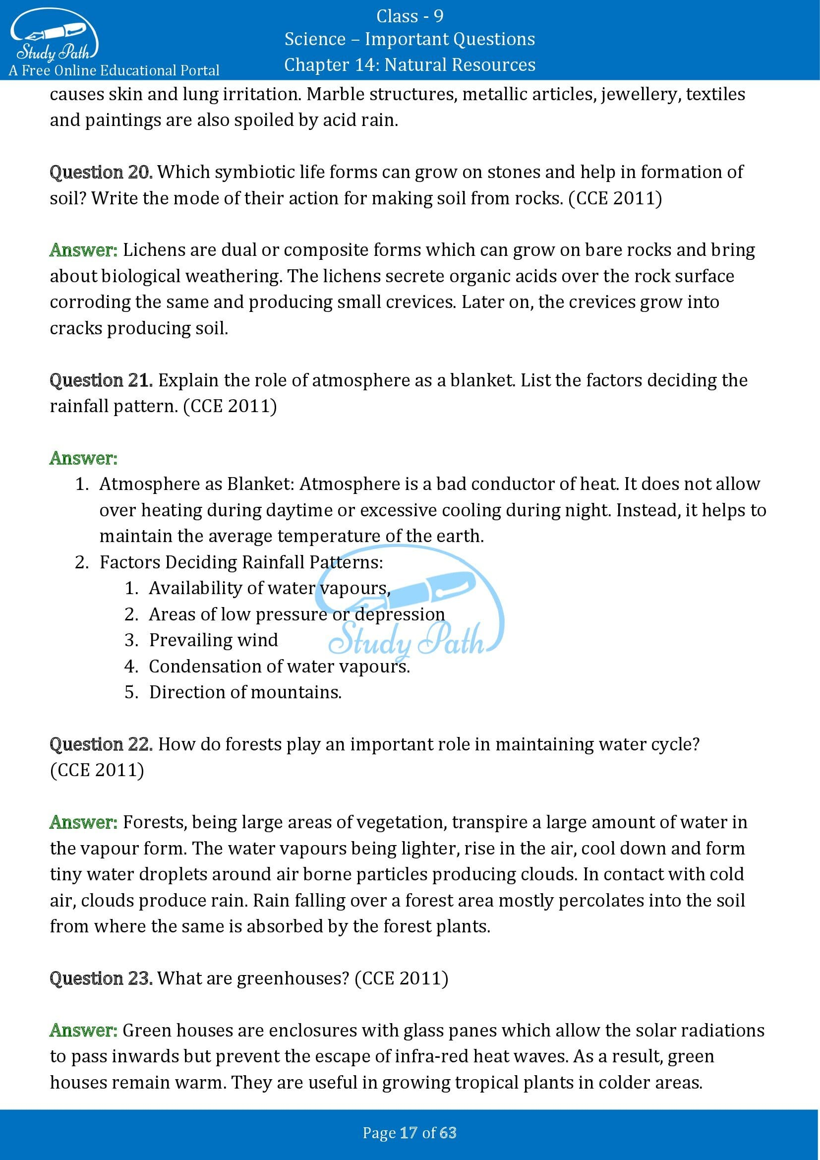 Important Questions for Class 9 Science Chapter 14 Natural Resources 00017