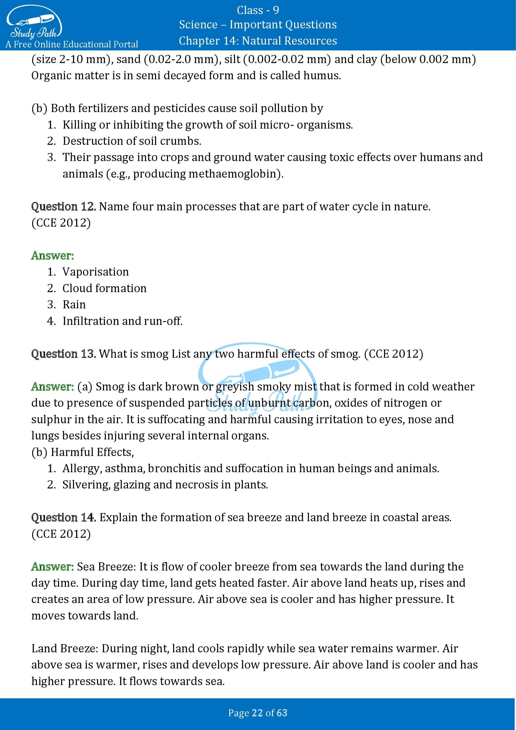 Important Questions for Class 9 Science Chapter 14 Natural Resources 00022
