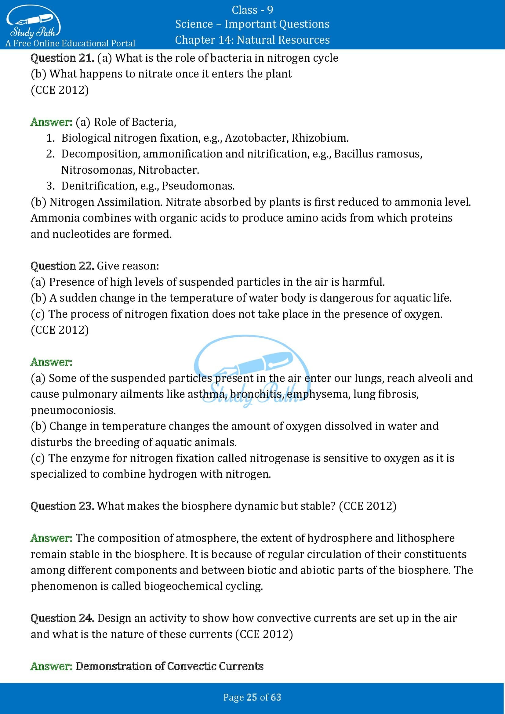 Important Questions for Class 9 Science Chapter 14 Natural Resources 00025