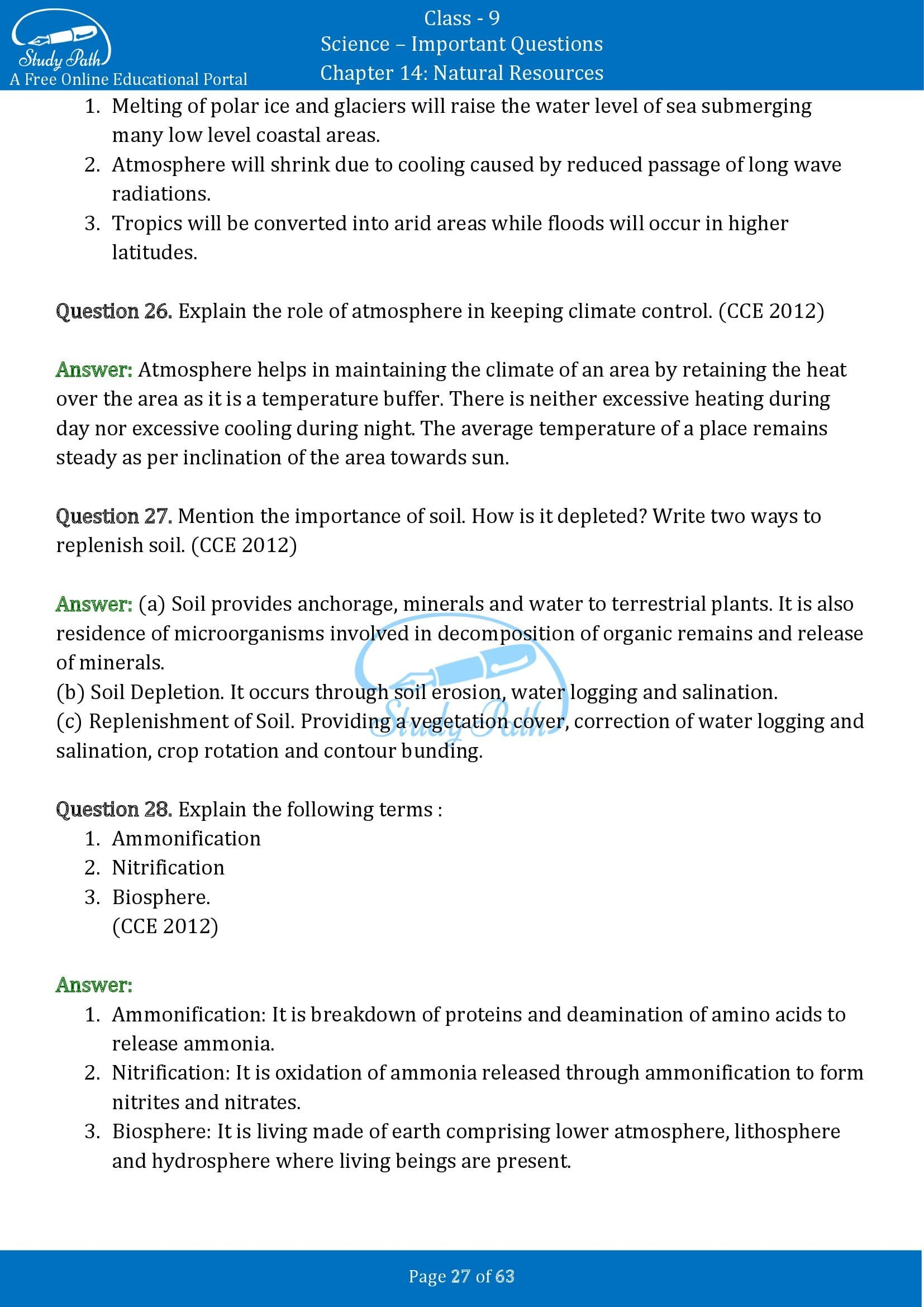 Important Questions for Class 9 Science Chapter 14 Natural Resources 00027