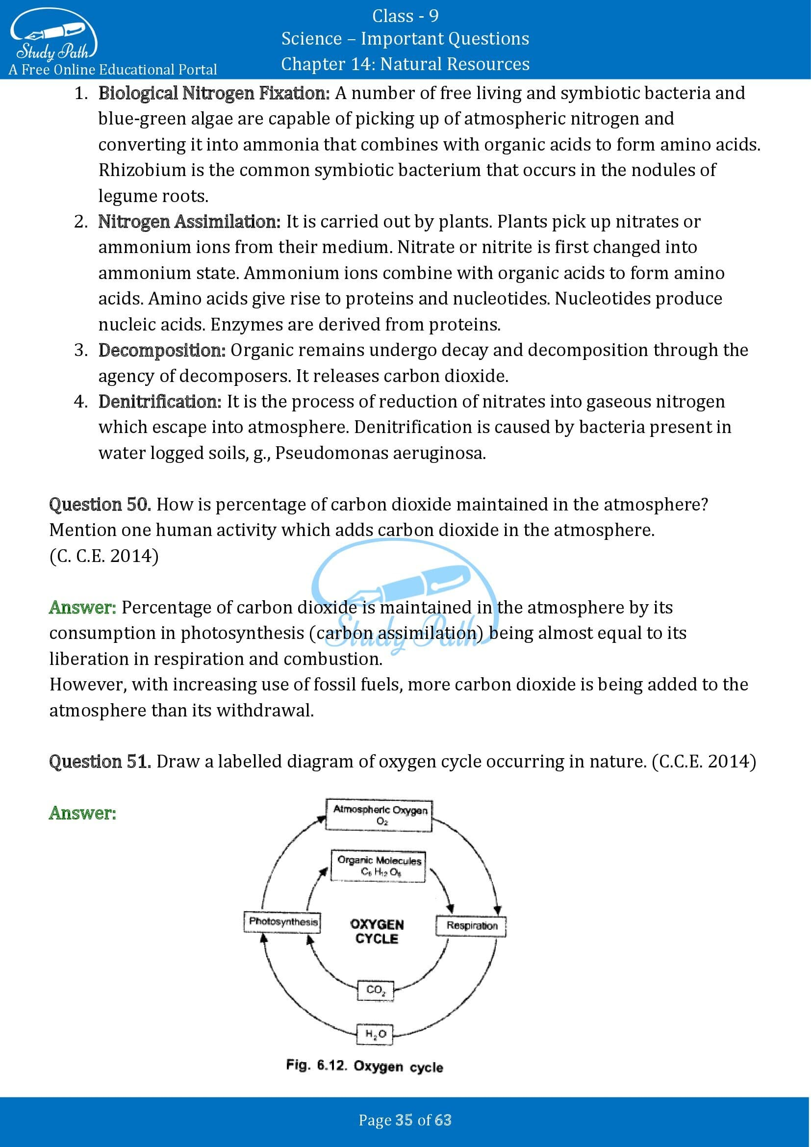 Important Questions for Class 9 Science Chapter 14 Natural Resources 00035