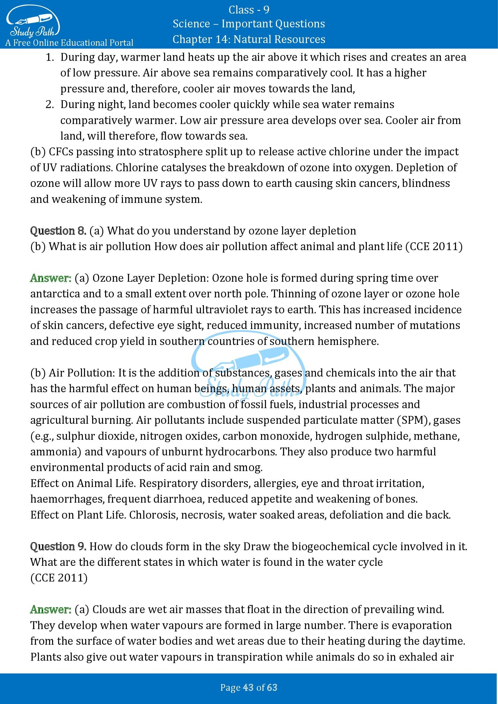 Important Questions for Class 9 Science Chapter 14 Natural Resources 00043
