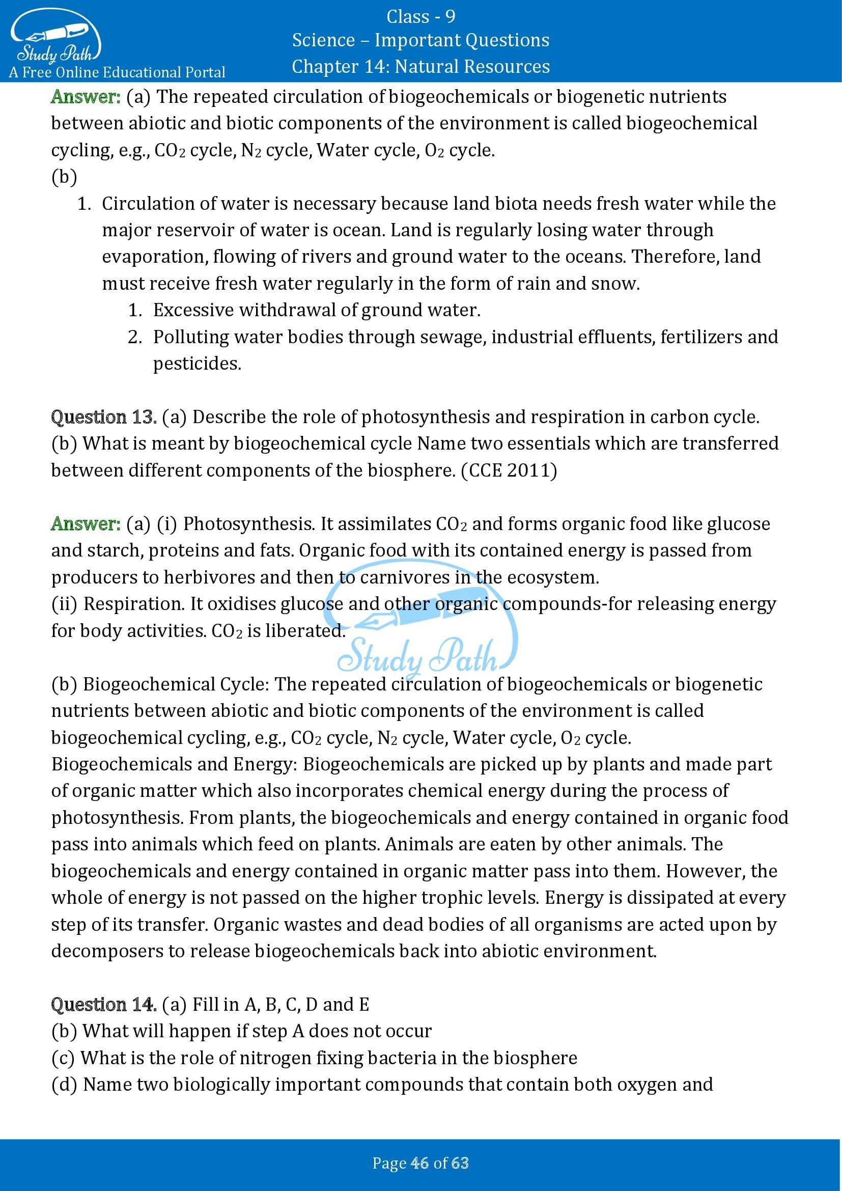 Important Questions for Class 9 Science Chapter 14 Natural Resources 00046