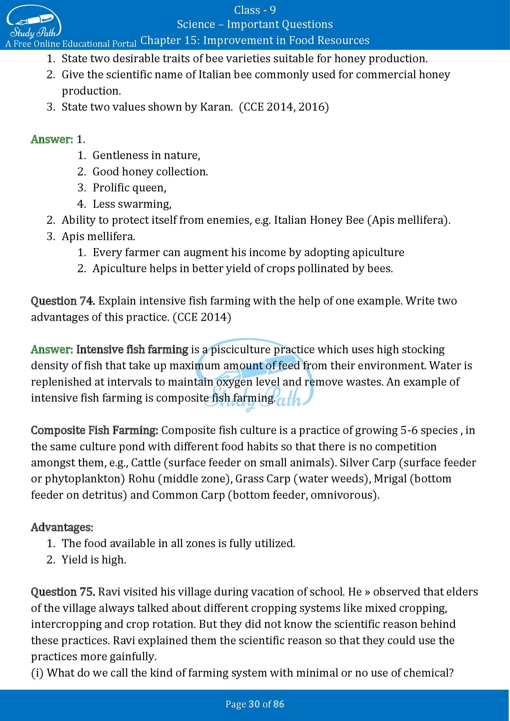 Important Questions for Class 9 Science Chapter 15 Improvement in Food Resources 00030